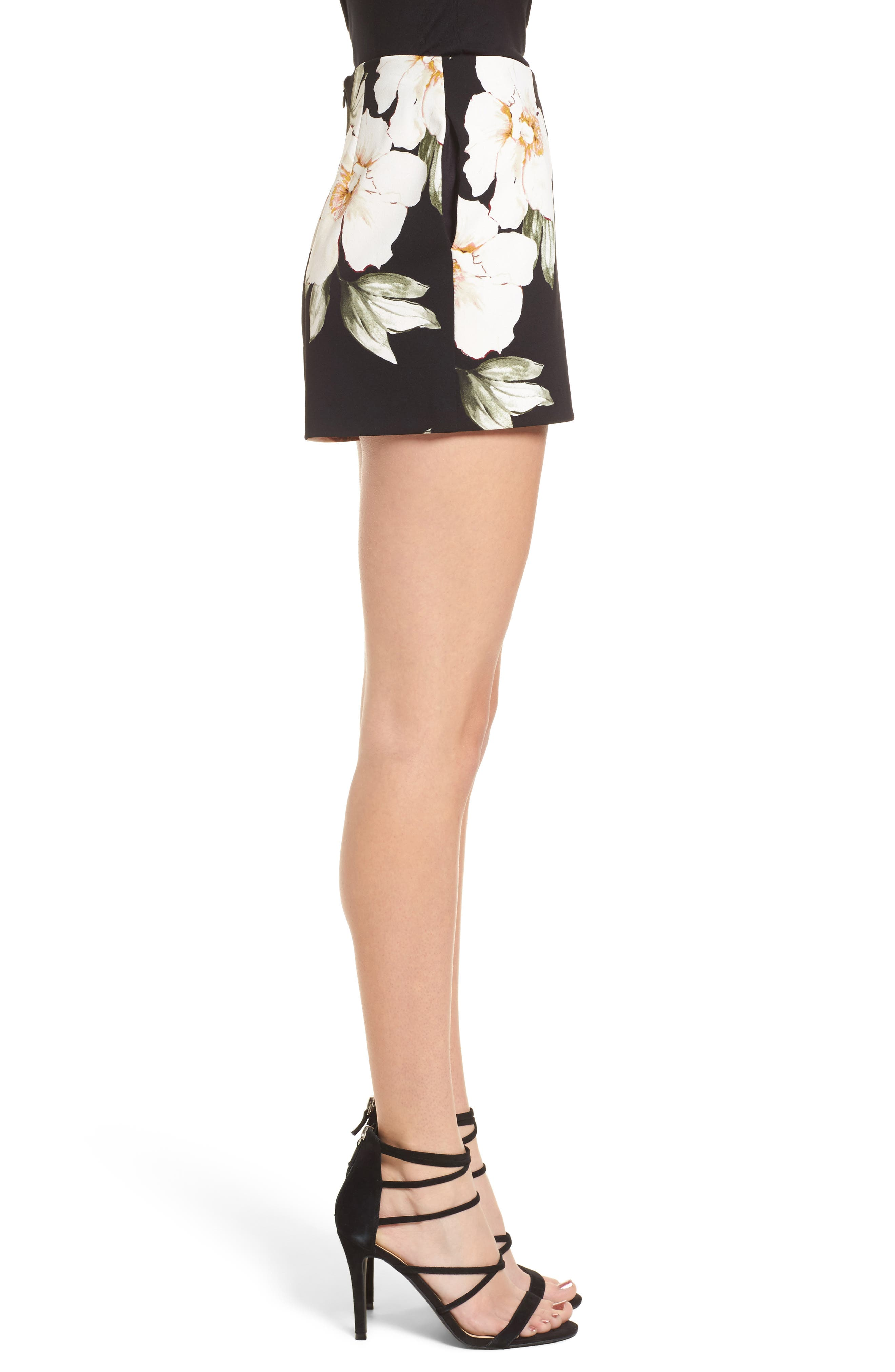 High Waist Shorts,                             Alternate thumbnail 3, color,                             Black Exploded Floral