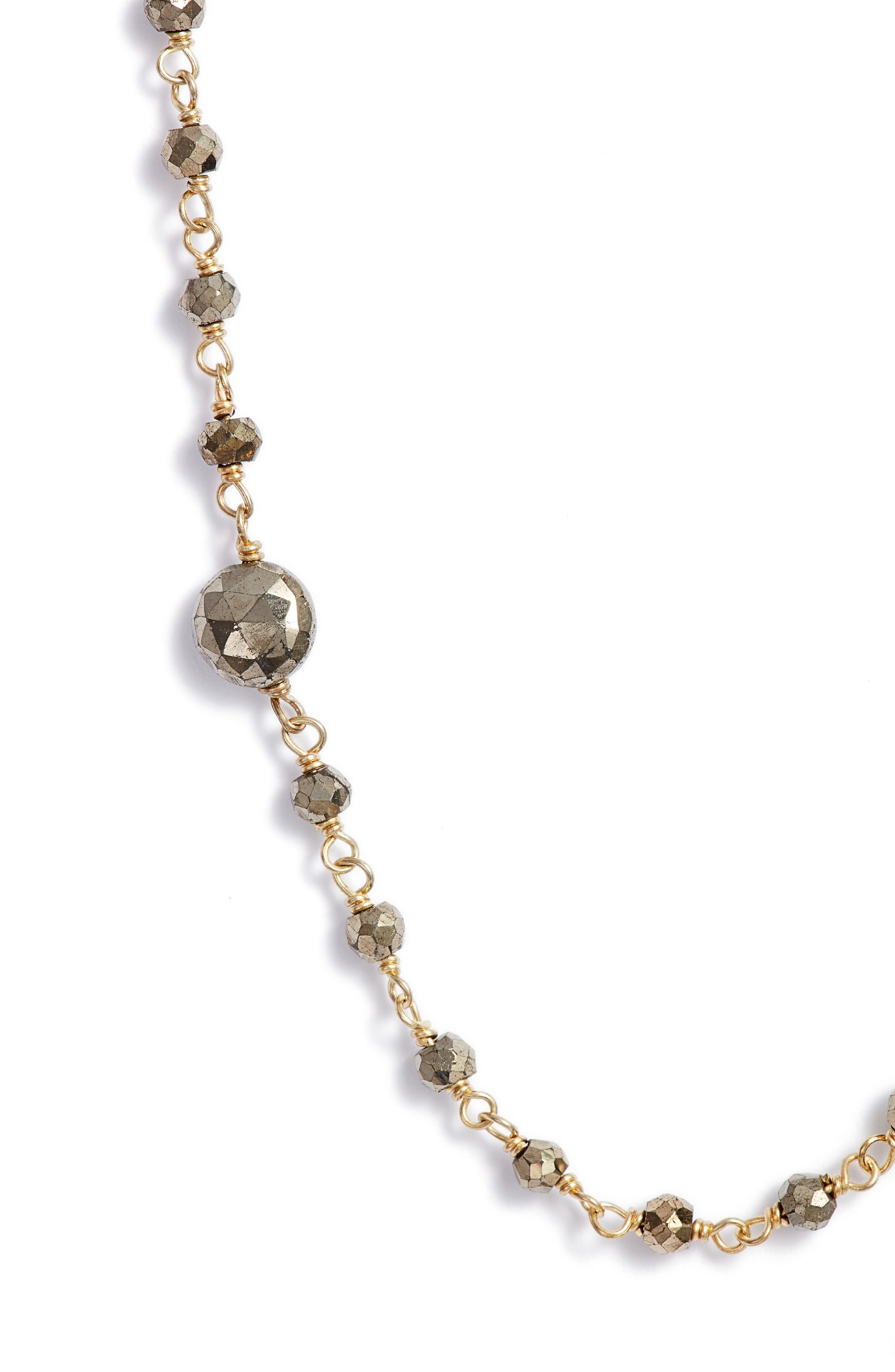 Diana Semiprecious Stone Satellite Necklace,                             Alternate thumbnail 2, color,                             Pyrite