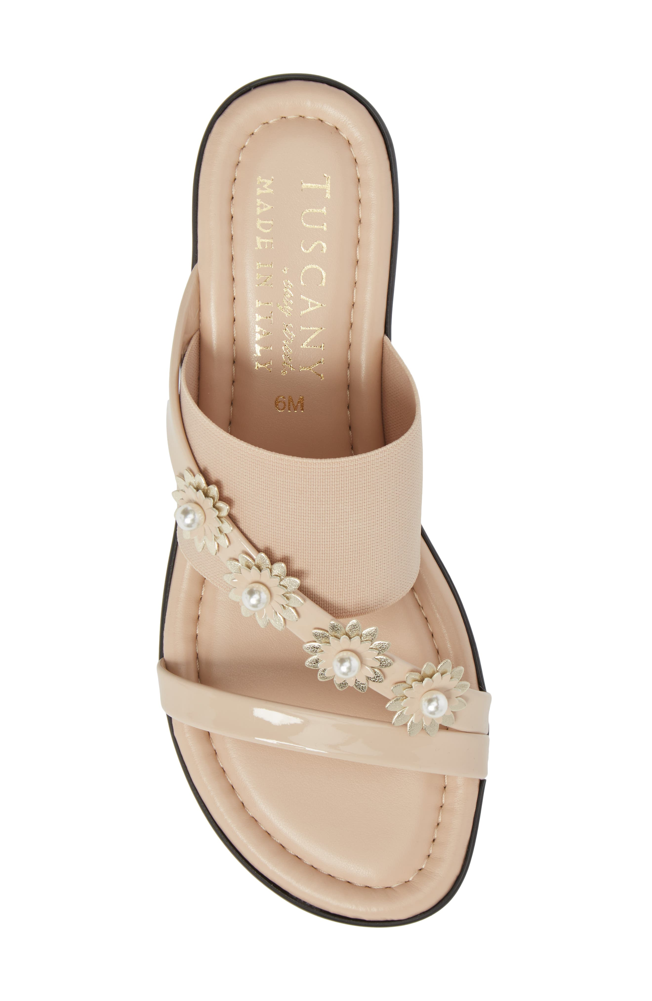 by Easy Street<sup>®</sup> Paradiso Slide Sandal,                             Alternate thumbnail 5, color,                             Nude Patent/ Stretch