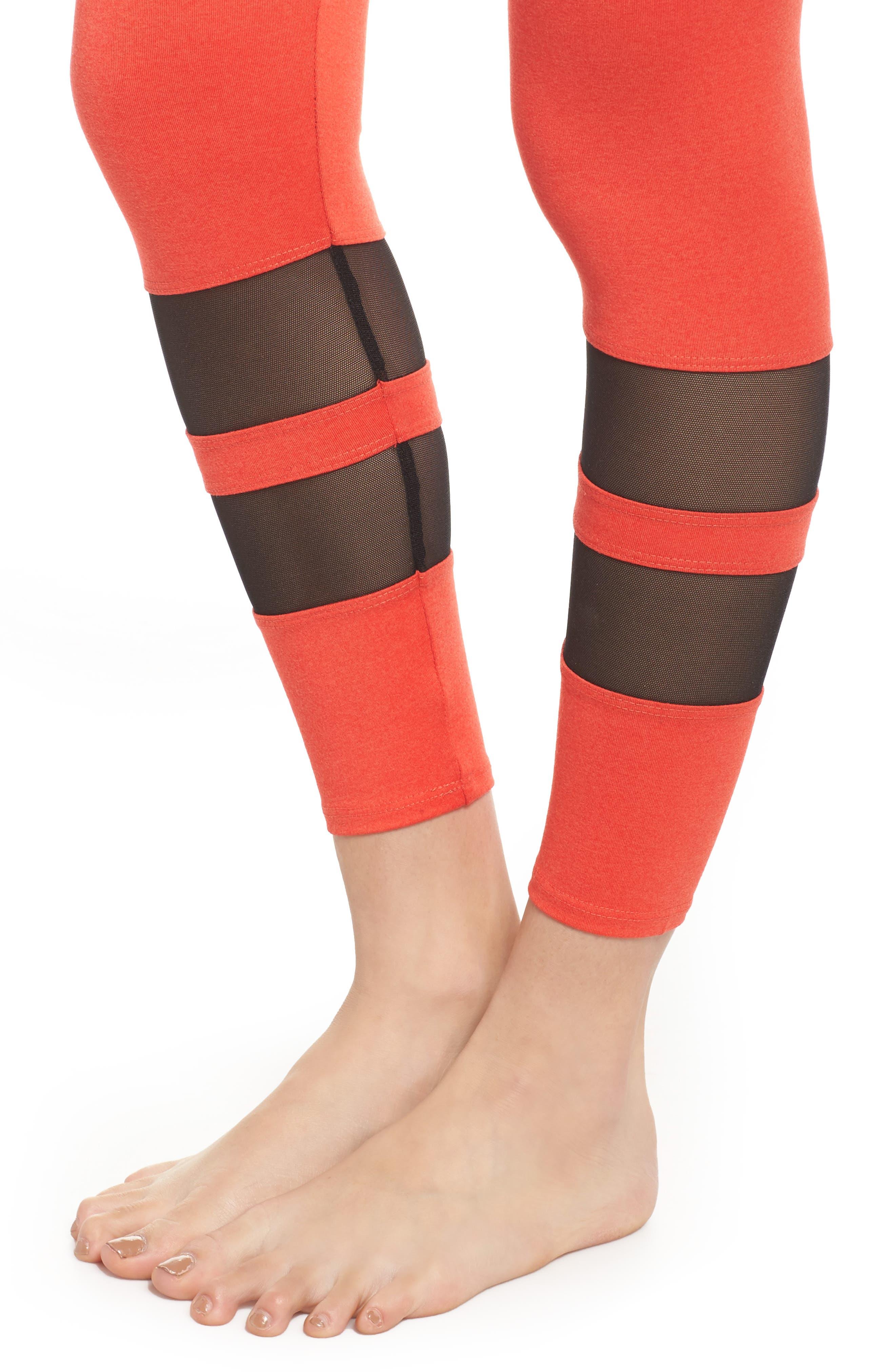 Racer Leggings,                             Alternate thumbnail 4, color,                             Coral Majestic/ Black Mesh