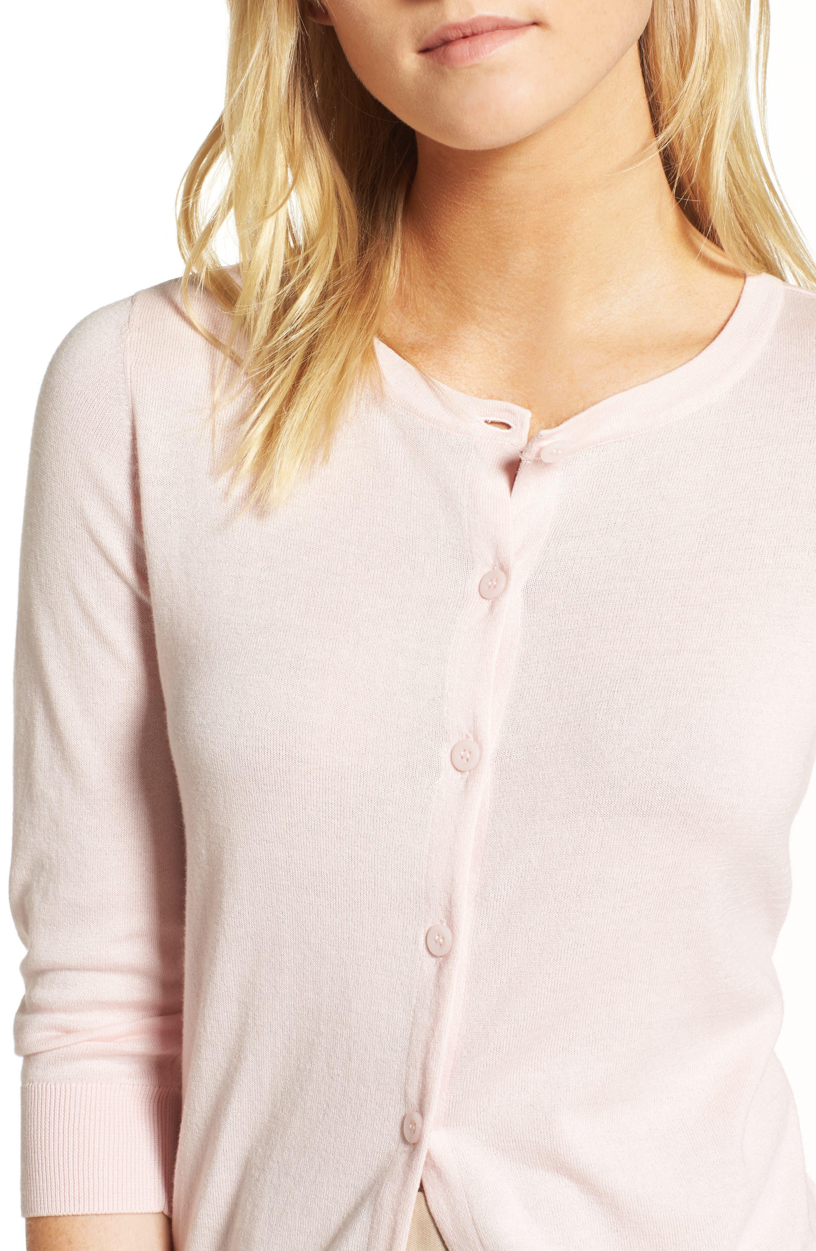 Cotton Blend Cardigan,                             Alternate thumbnail 7, color,                             Pink Potpourri