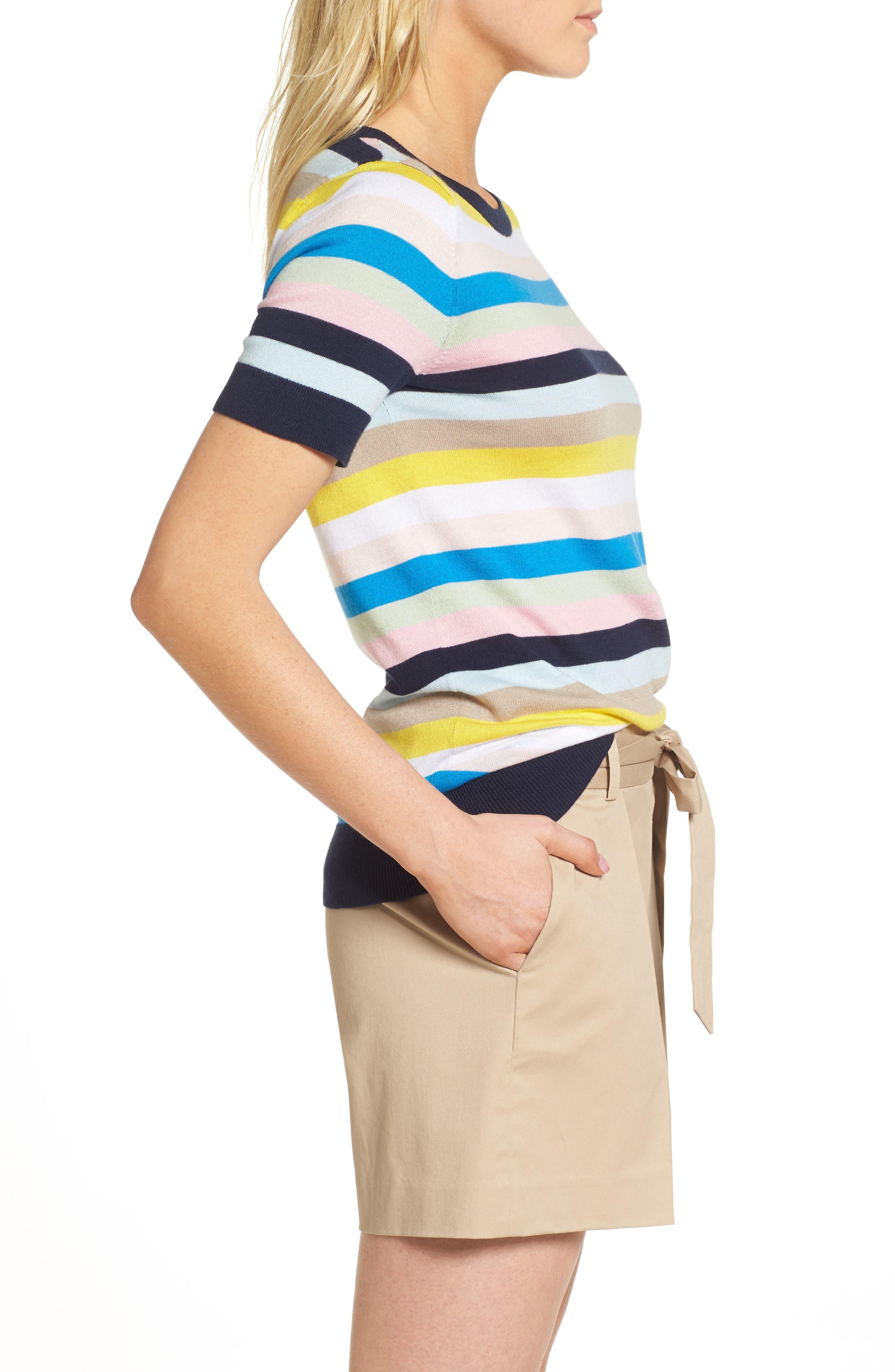 Crewneck Sweater,                             Alternate thumbnail 5, color,                             Blue Multi Stripe