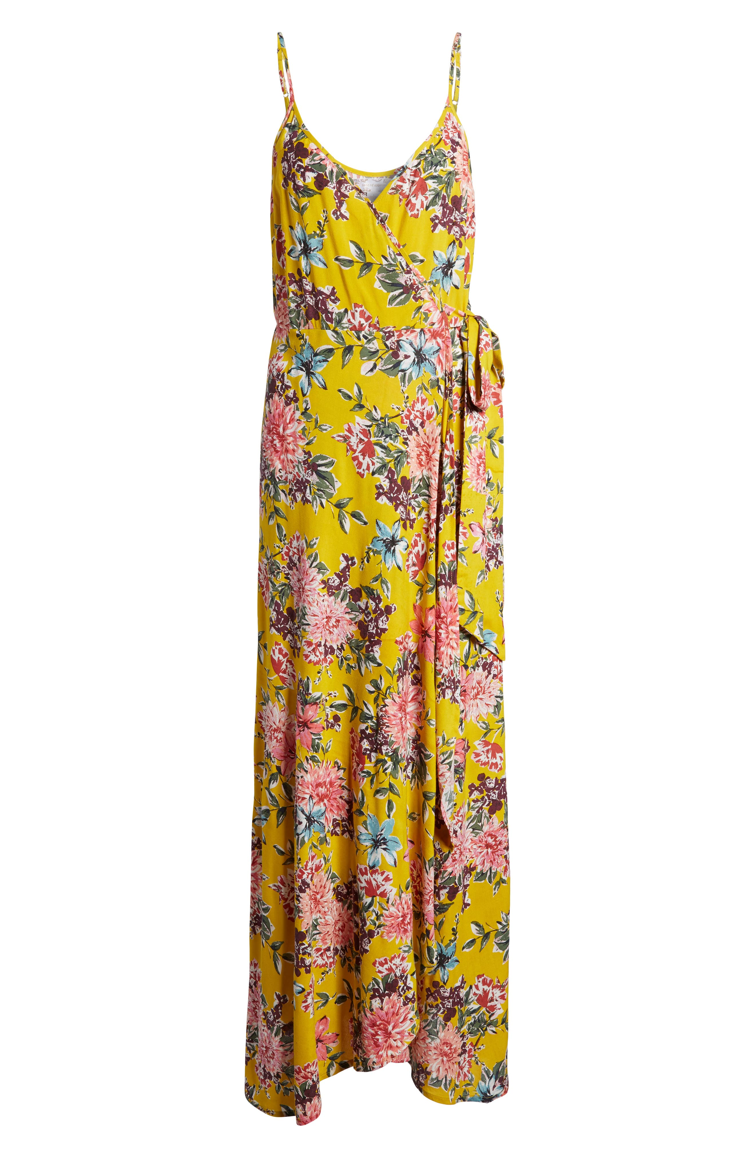 Chrysanthemum Wrap Front Dress,                             Alternate thumbnail 6, color,                             Mustard/ Pink
