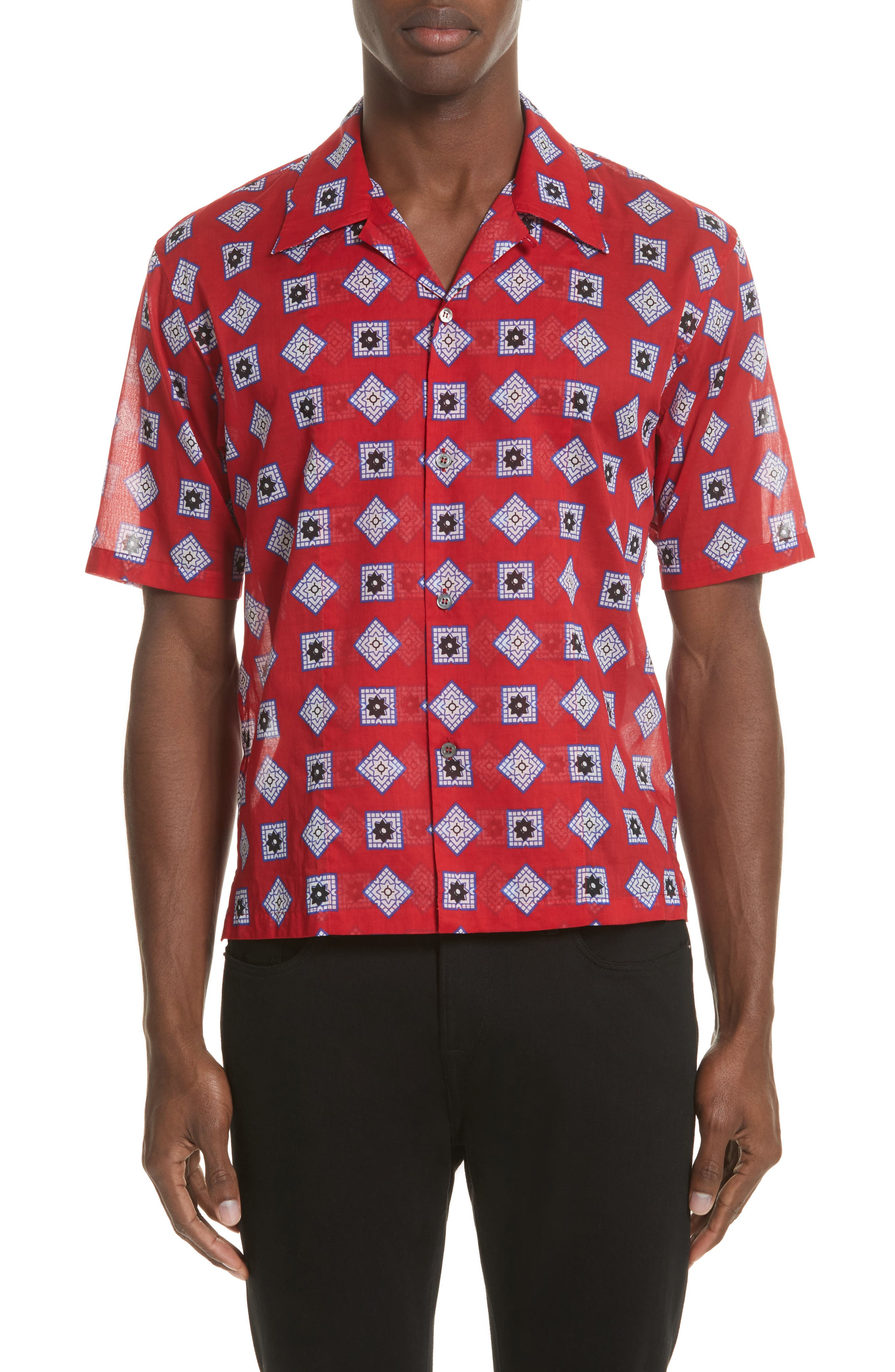 Muslin Print Camp Shirt,                         Main,                         color, Red