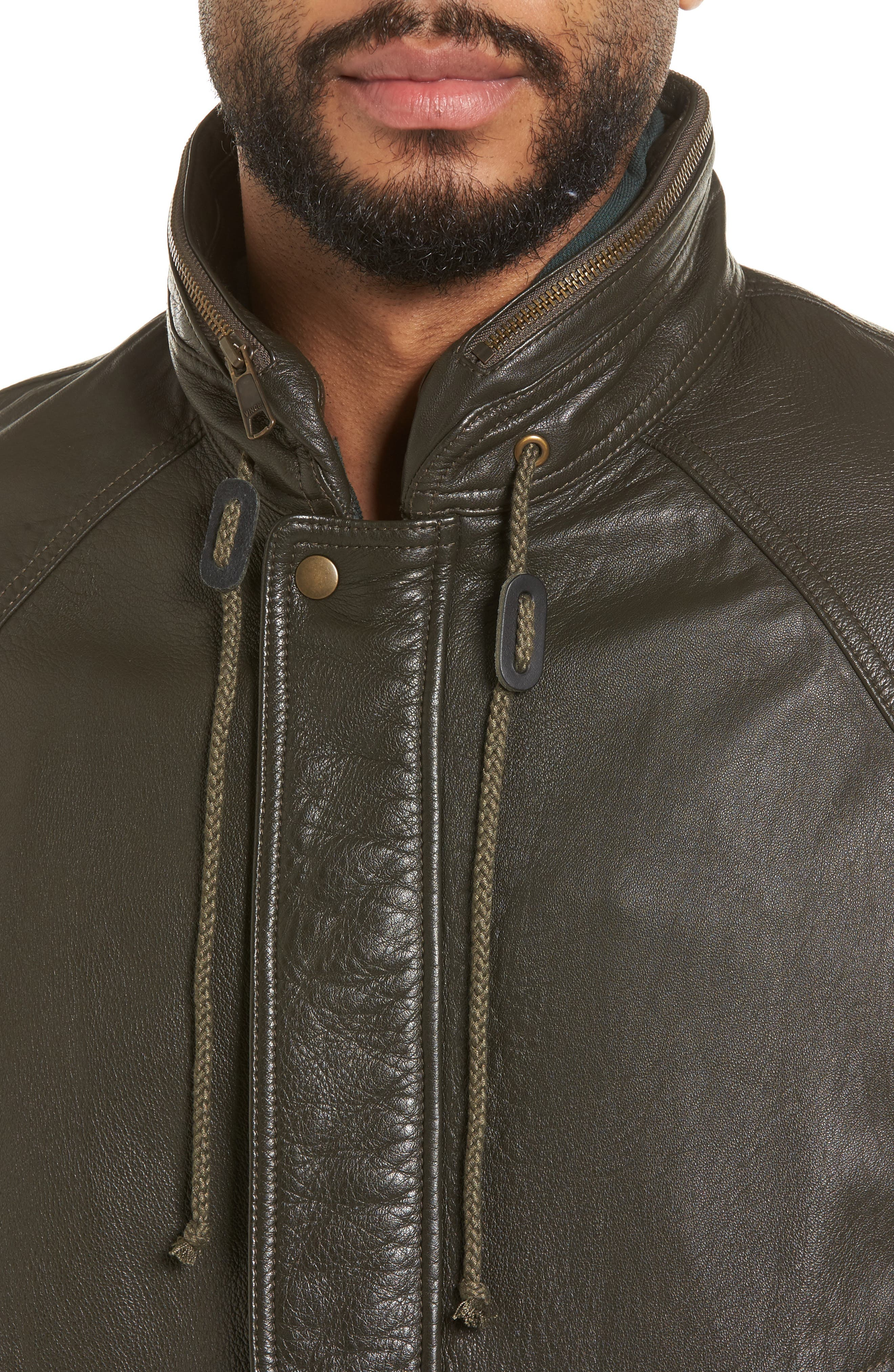 Slim Fit Lambskin Leather Parka,                             Alternate thumbnail 4, color,                             Olive