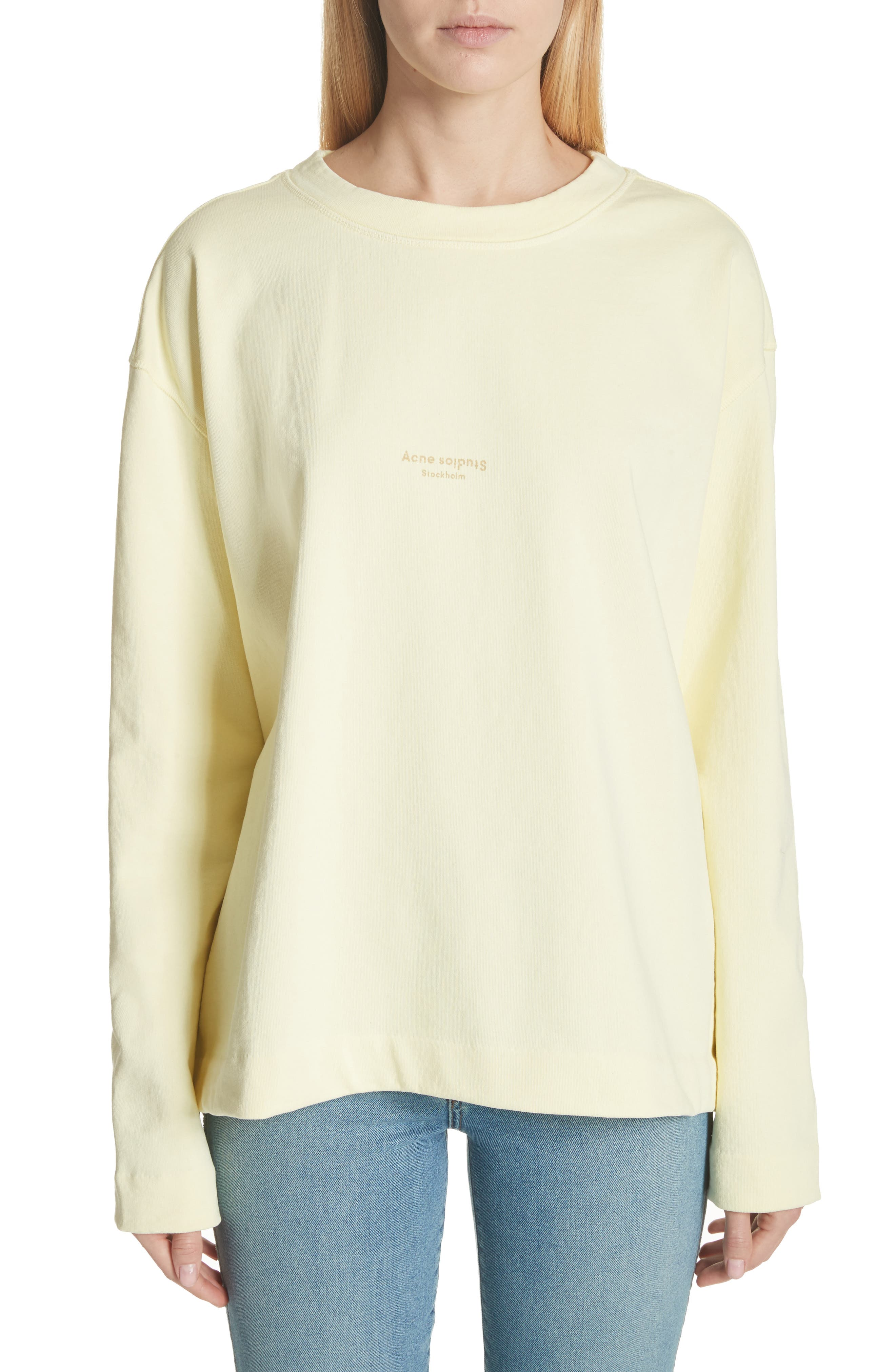 Lynn Small Logo Sweatshirt,                         Main,                         color, Pale Yellow