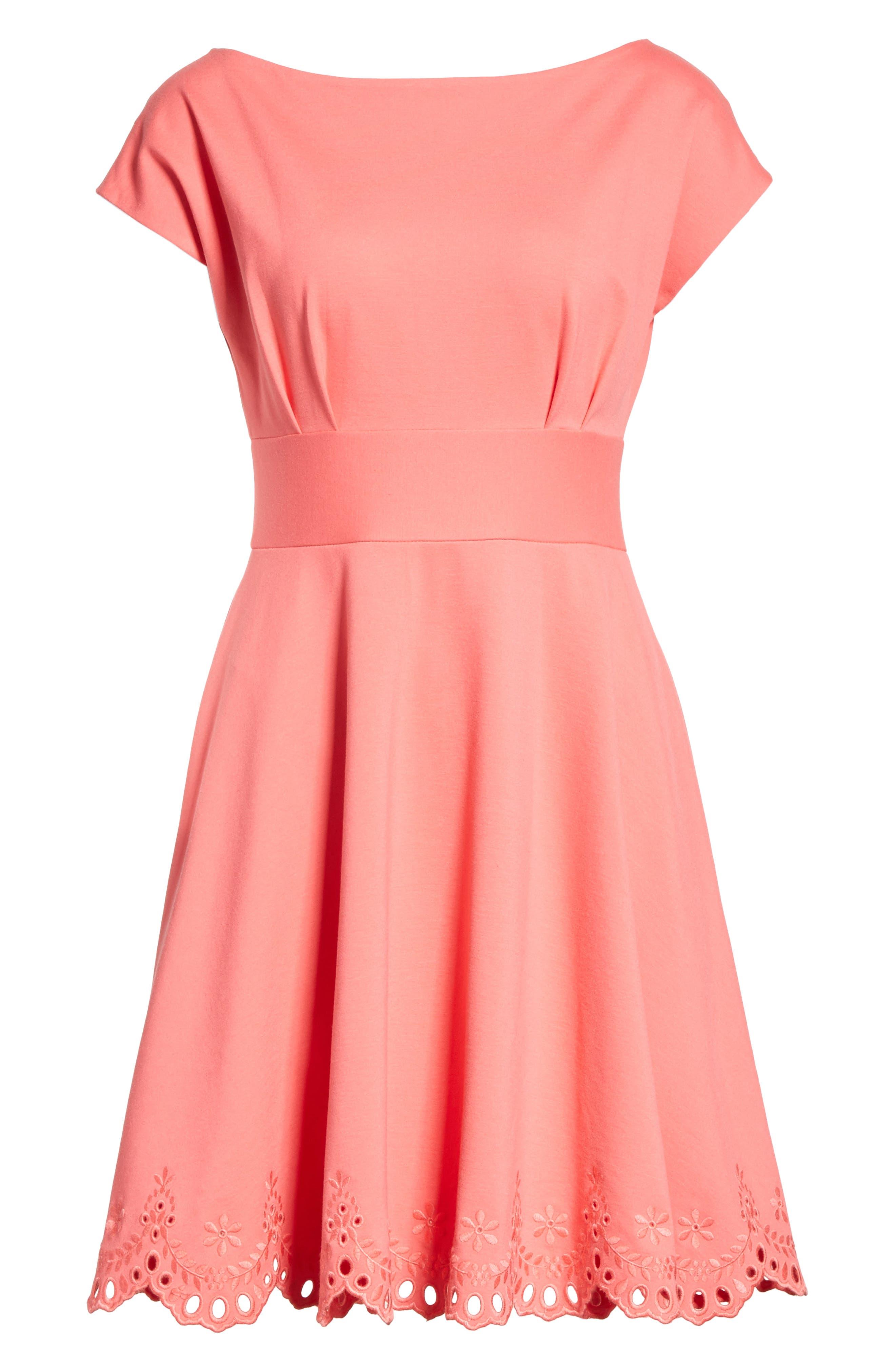 fiorella cutwork hem dress,                             Alternate thumbnail 6, color,                             Peach Sherbet