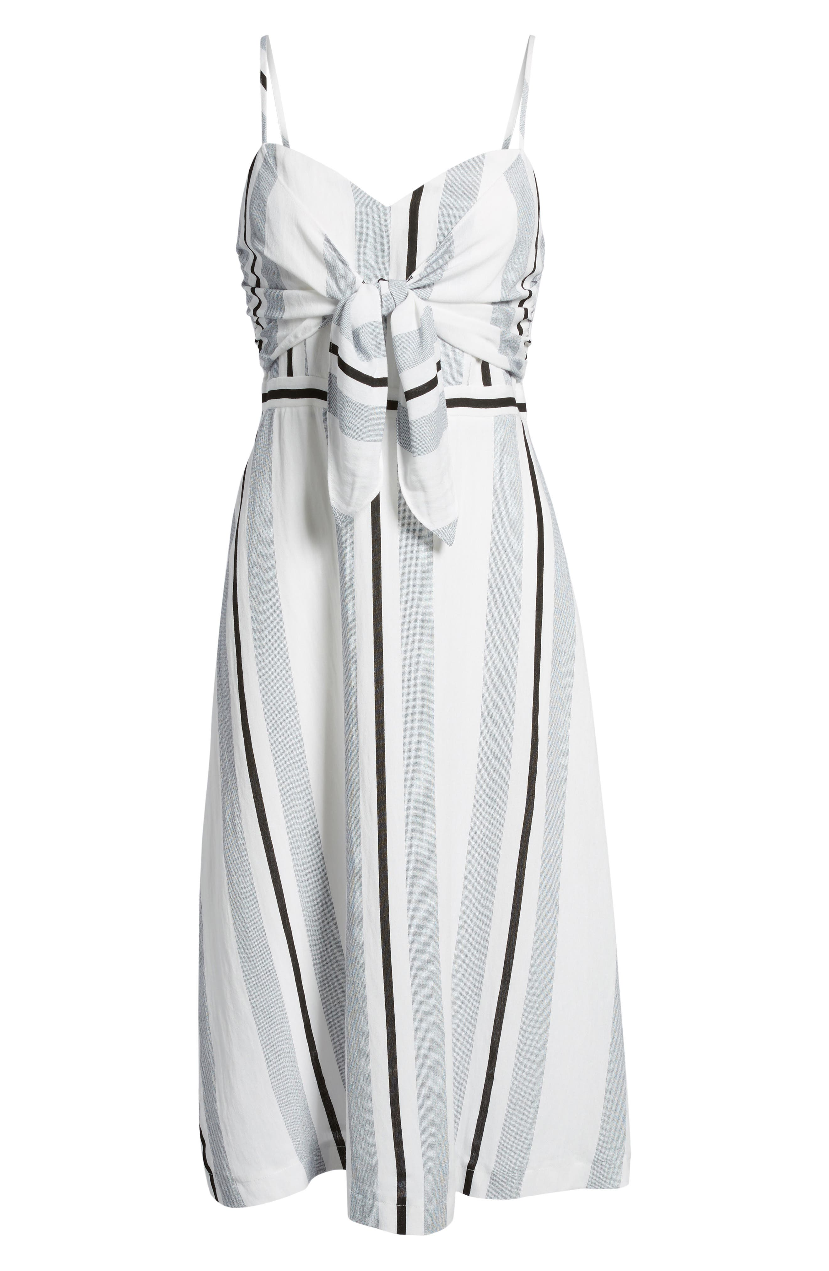 Stripe Tie Front Midi Dress,                             Alternate thumbnail 6, color,                             Blue/ White Stripe