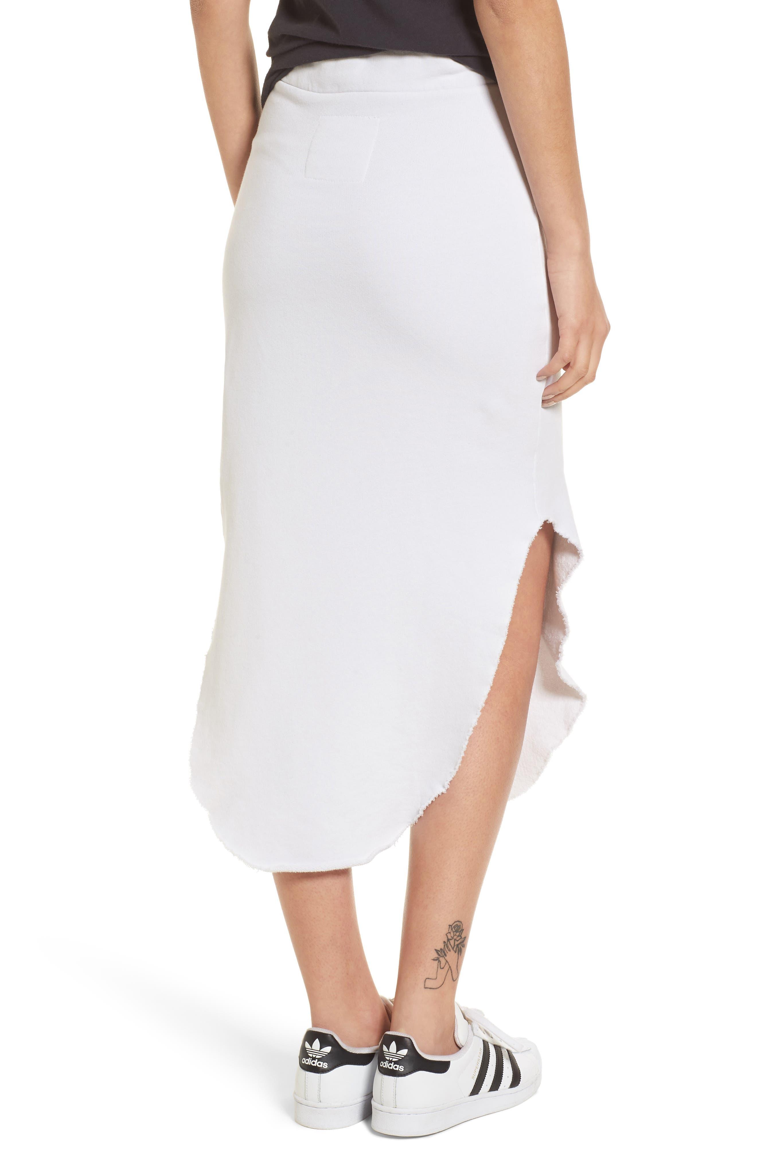 Midi Fleece Skirt,                             Alternate thumbnail 3, color,                             Dirty White