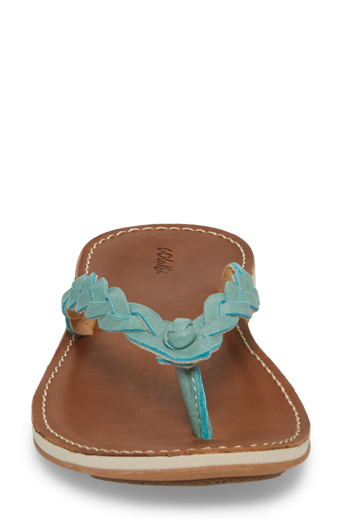 Kahiko Flip-Flop,                             Alternate thumbnail 4, color,                             Sea/ Tan Leather