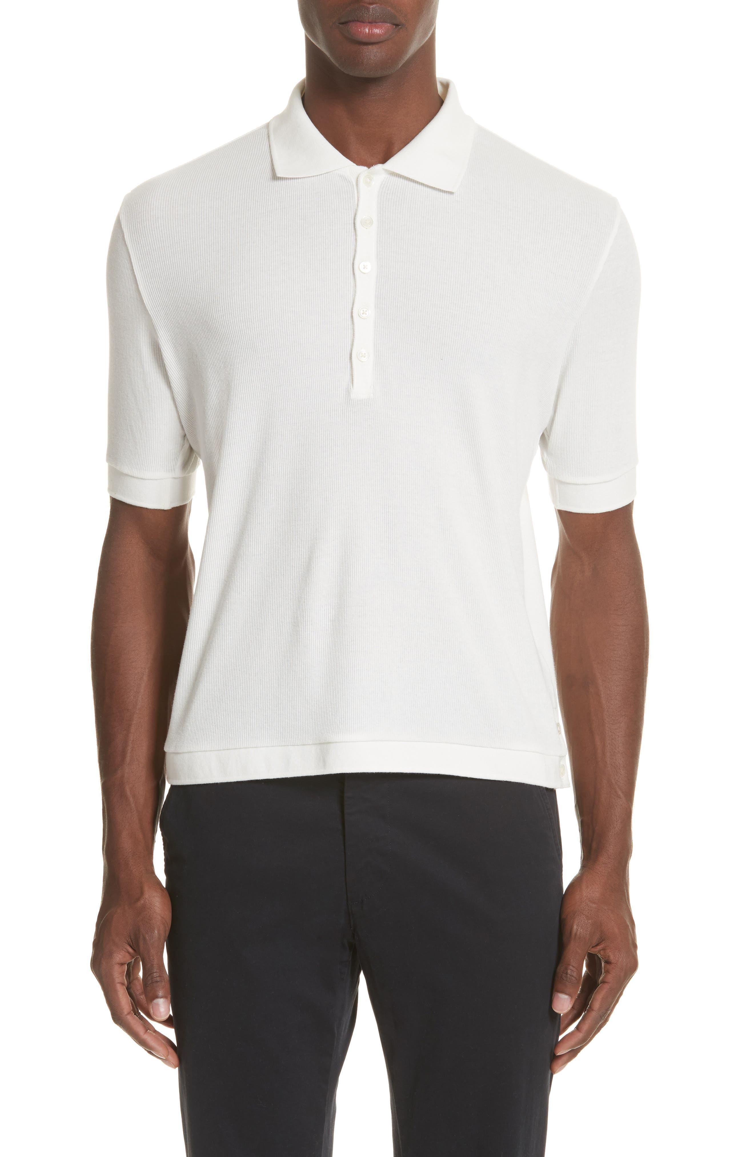 Ribbed Polo Shirt,                         Main,                         color, White