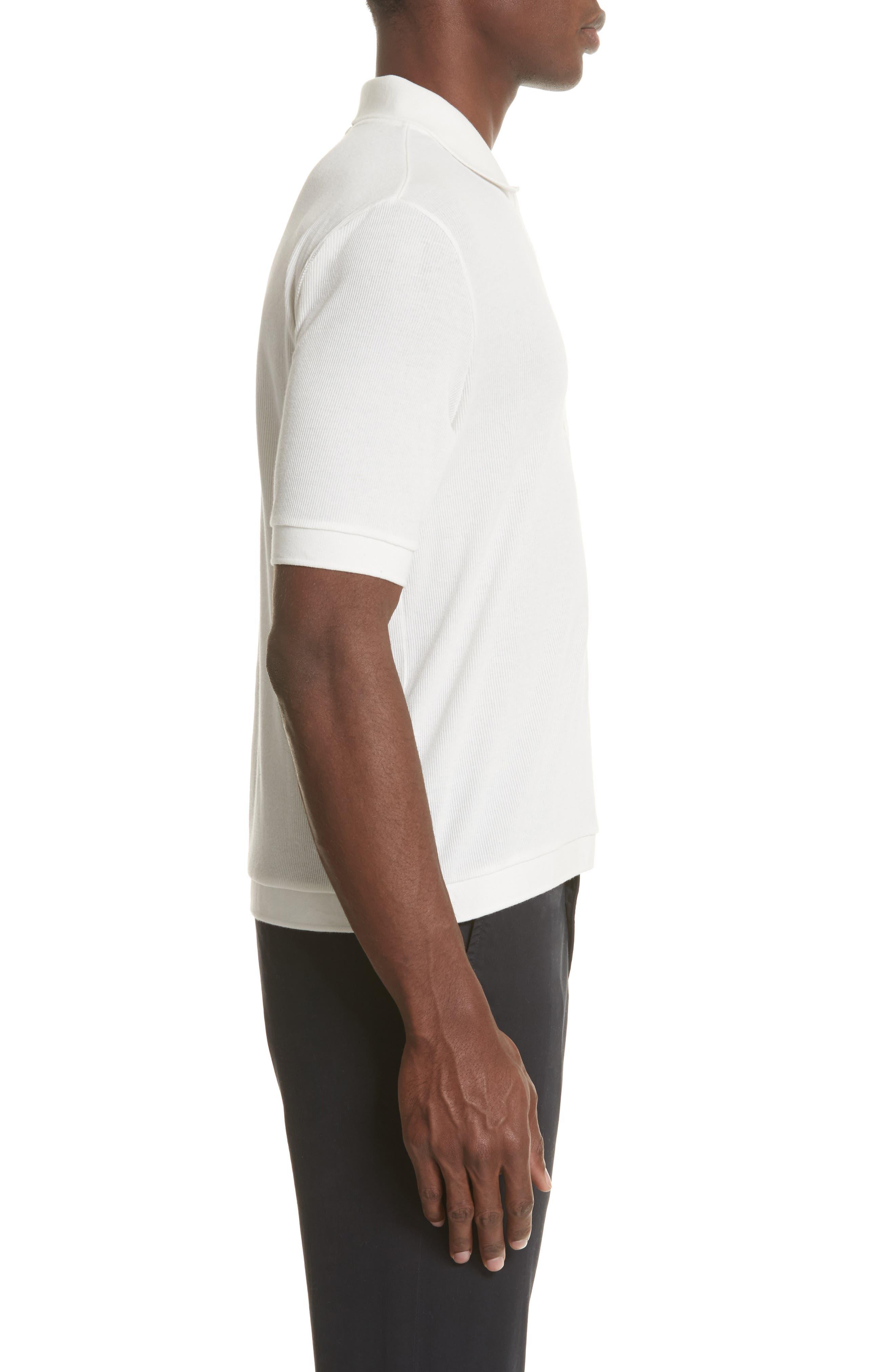 Ribbed Polo Shirt,                             Alternate thumbnail 3, color,                             White