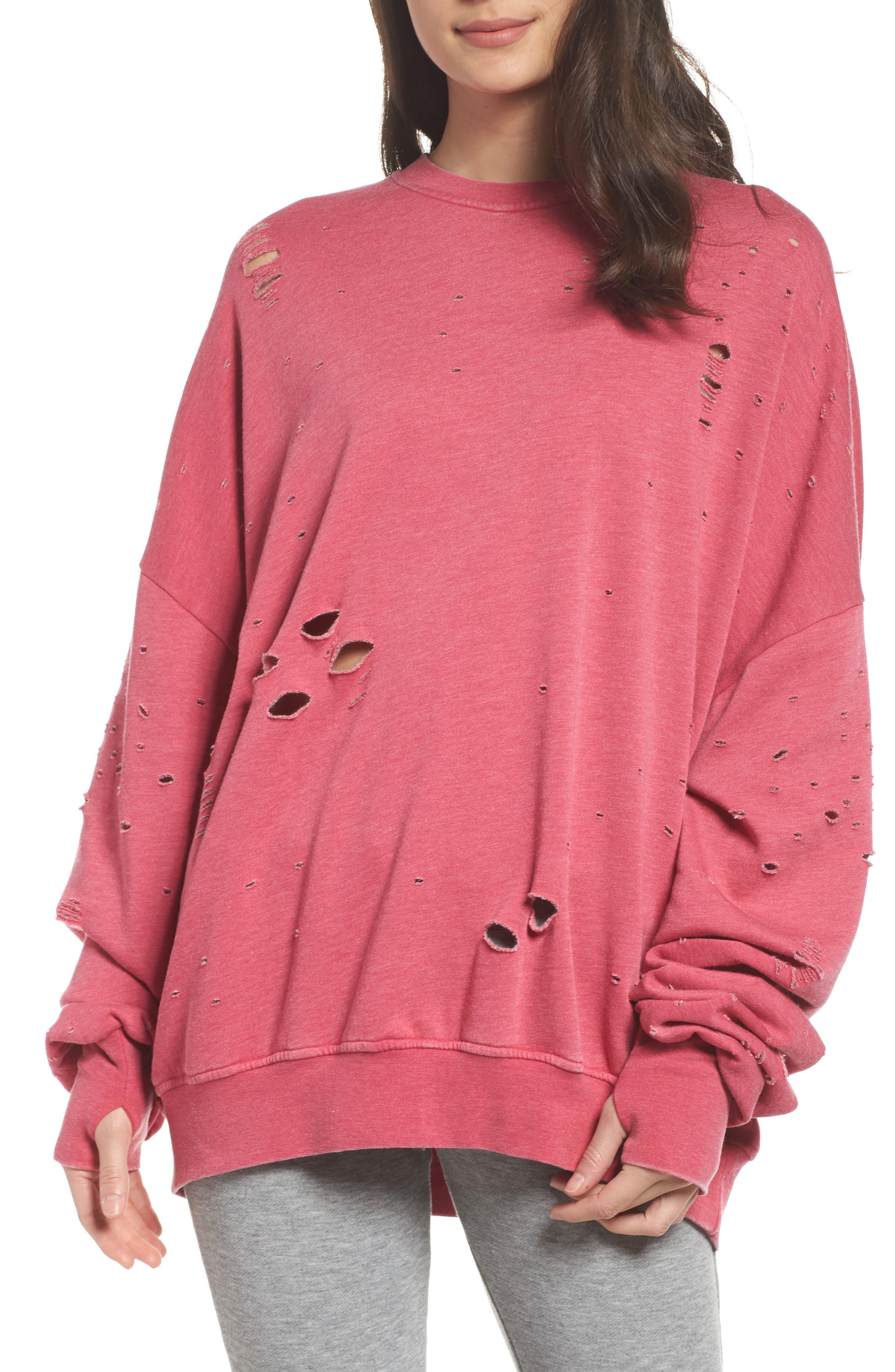Thrasher Sweatshirt,                         Main,                         color, Flamingo