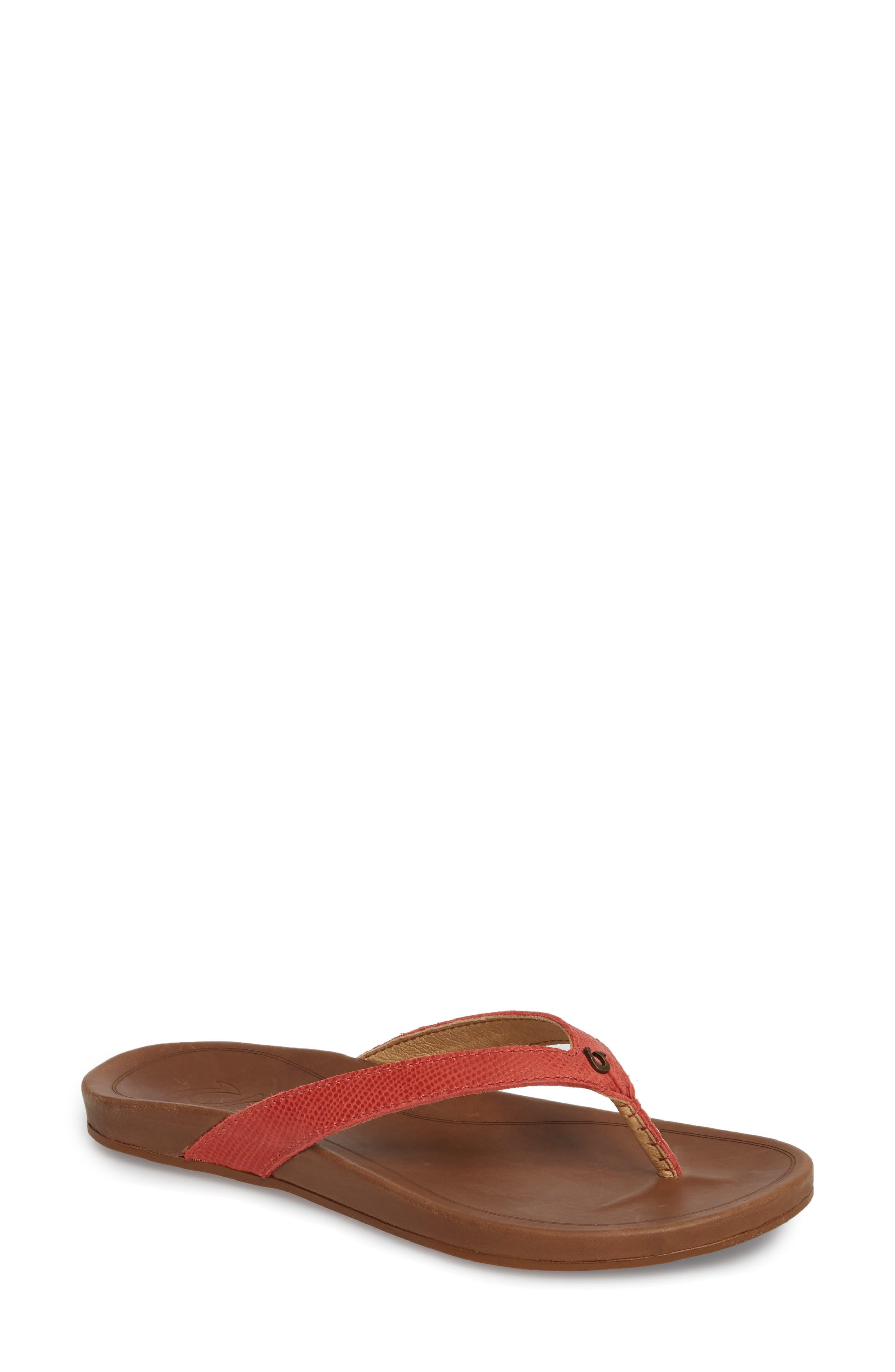 'Hi Ona' Flip Flop,                             Main thumbnail 1, color,                             Paprika/ Tan Leather