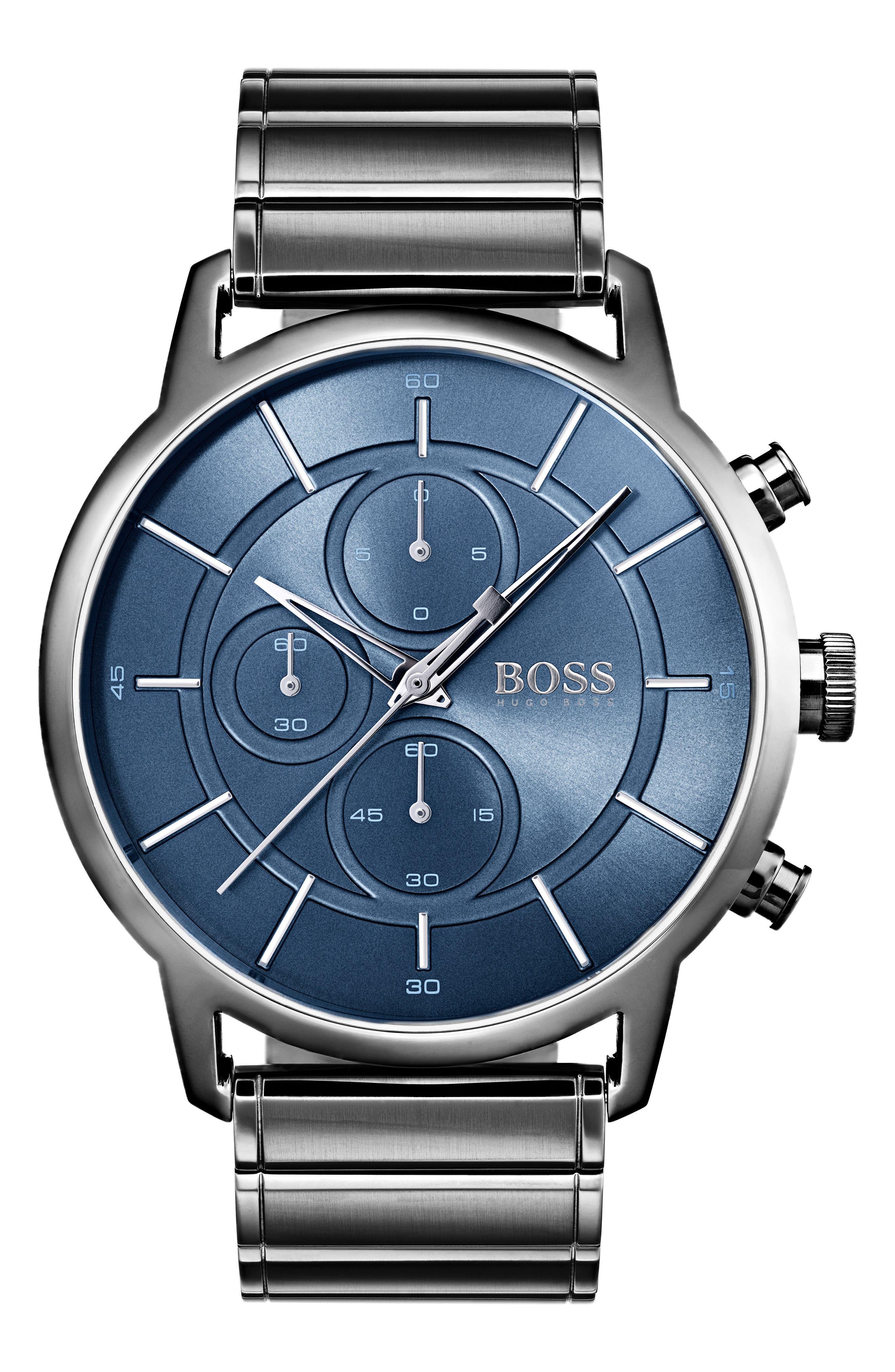 Architectural Chronograph Bracelet Watch, 44mm,                             Main thumbnail 1, color,                             Steel Blue/ Gunmetal