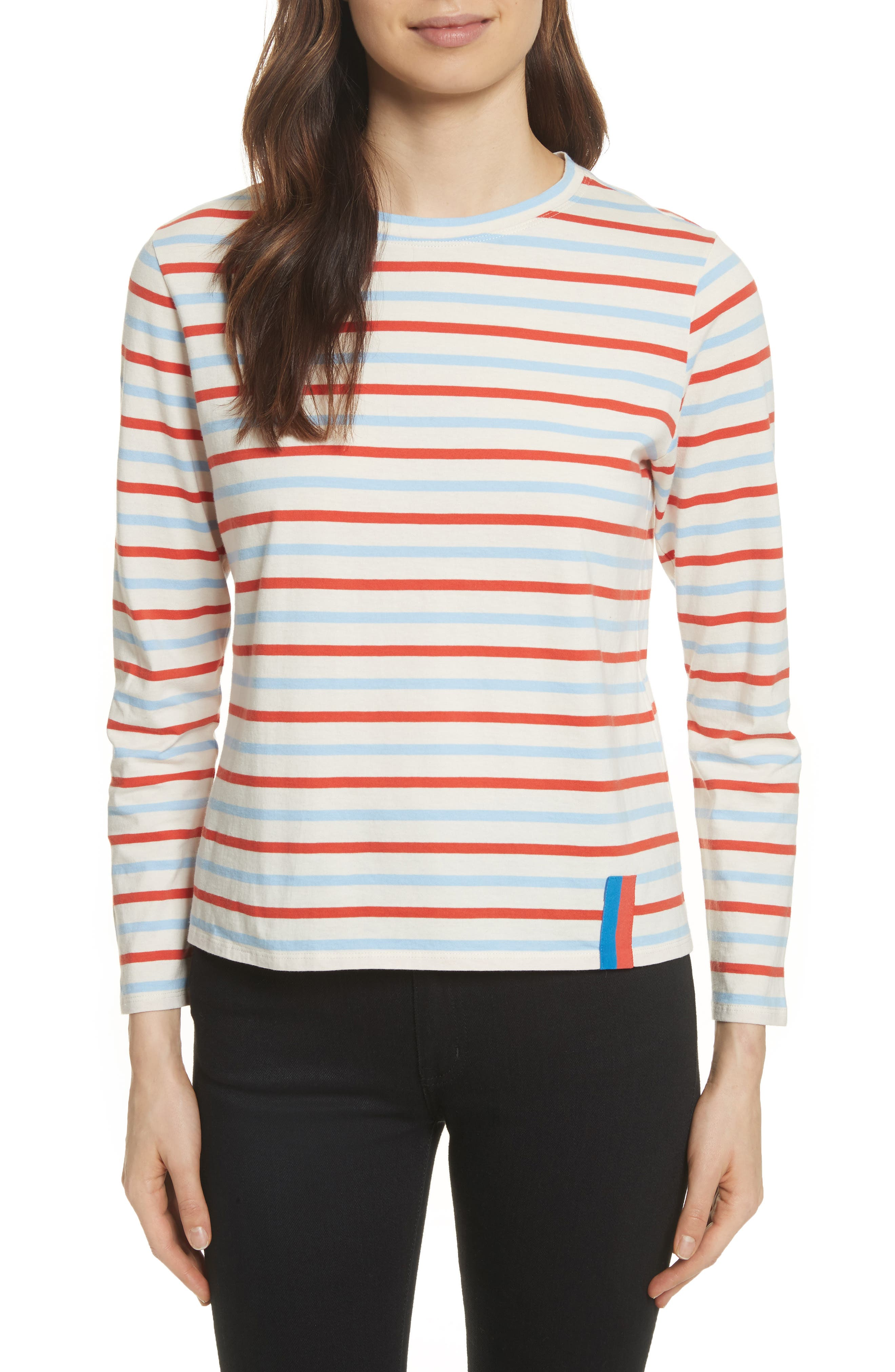 The Modern Long Stripe Cotton Tee,                             Main thumbnail 1, color,                             Cream/ Sky/ Poppy