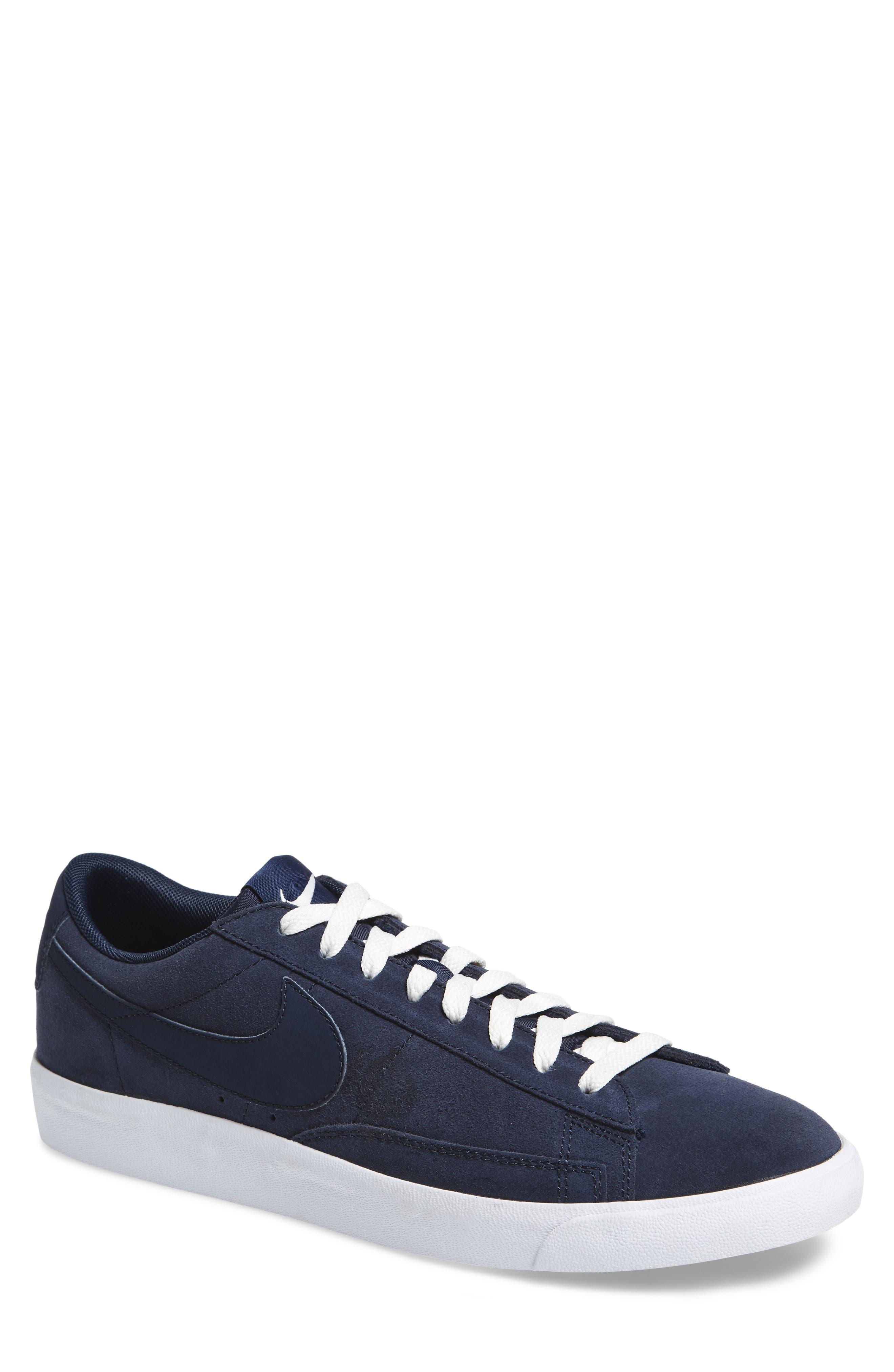 Blazer Low Suede Sneaker,                         Main,                         color, Obsidian/ Sail/ Brown