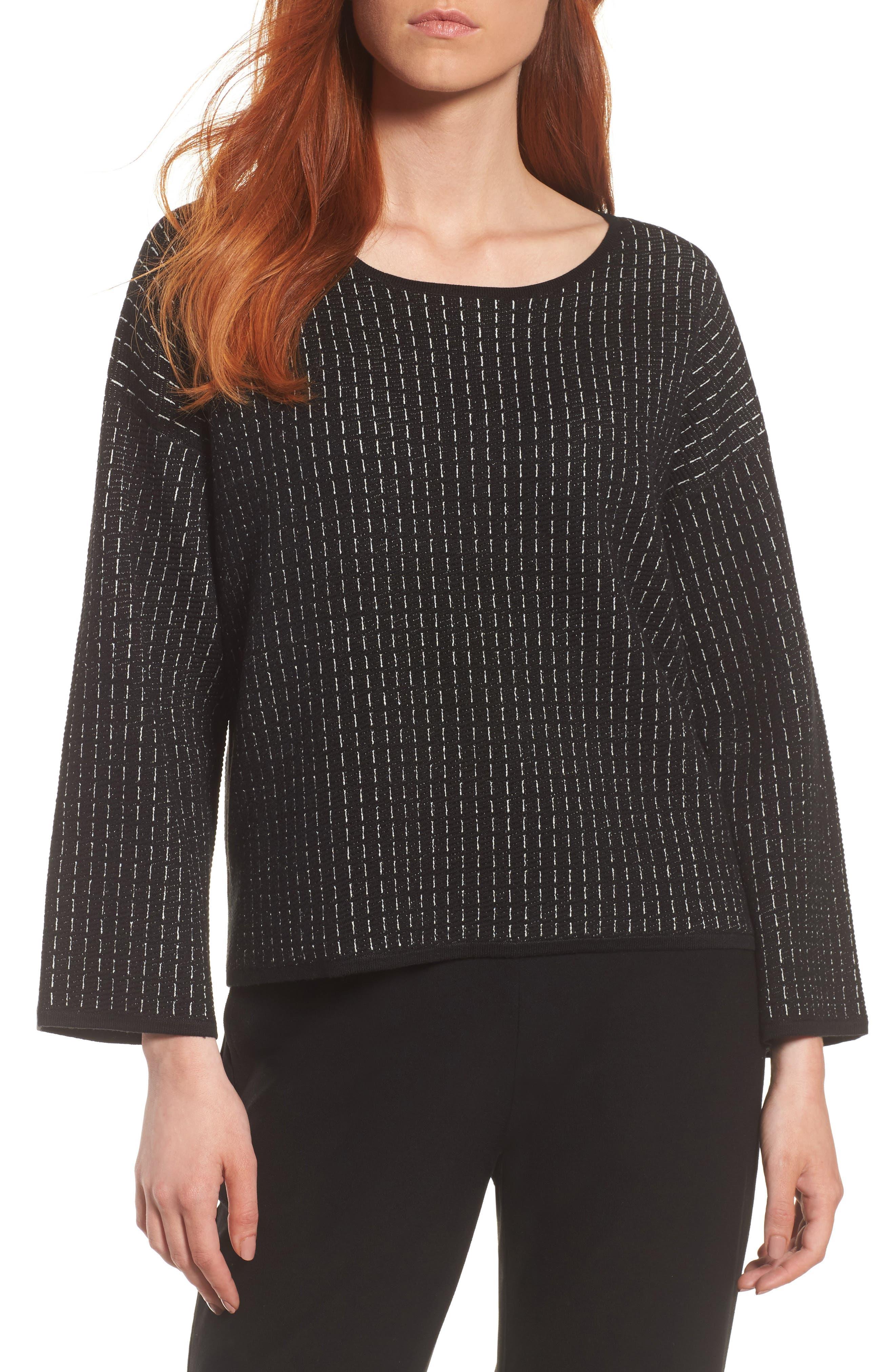 Jewel Neck Boxy Top,                         Main,                         color, Black