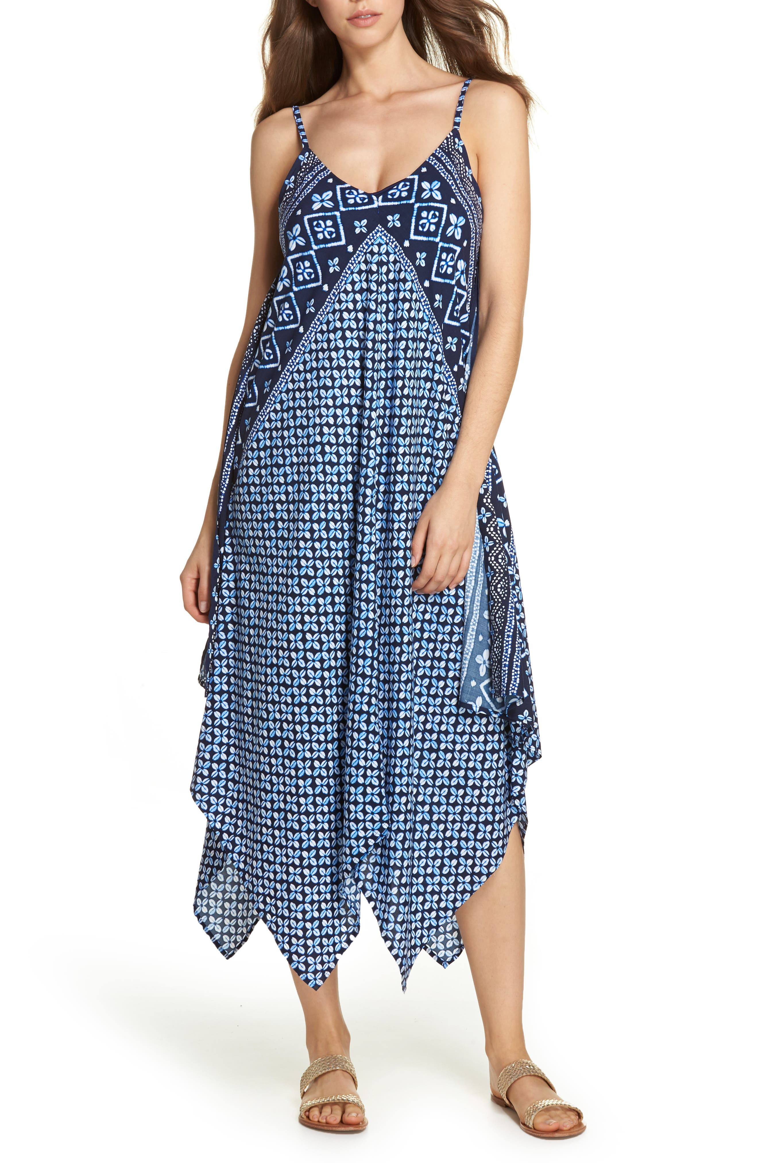 Indigo Cowrie Diamonds Cover-Up Dress,                             Main thumbnail 1, color,                             Mare