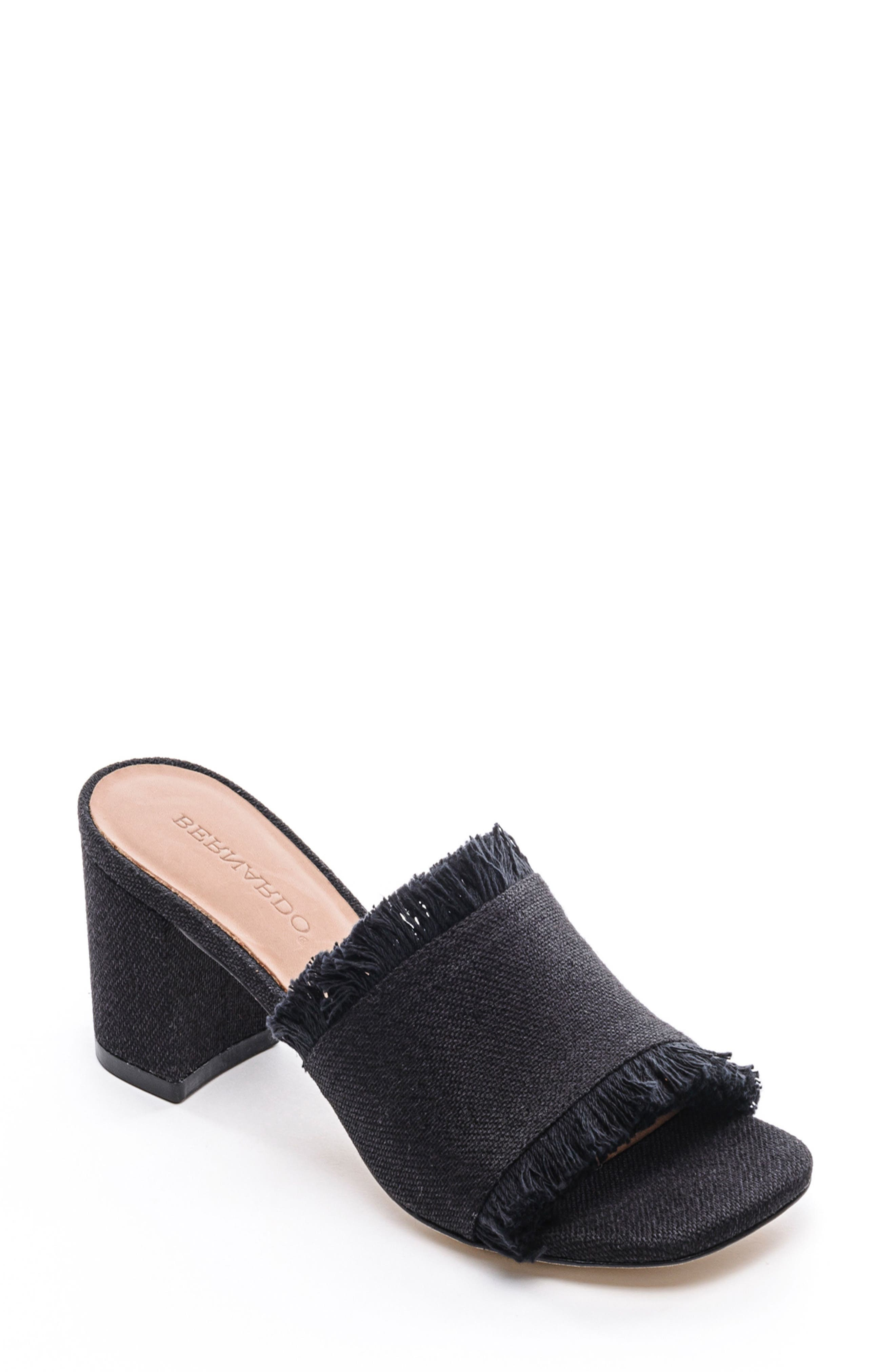 Blair Fringe Mule,                         Main,                         color, Black Fabric