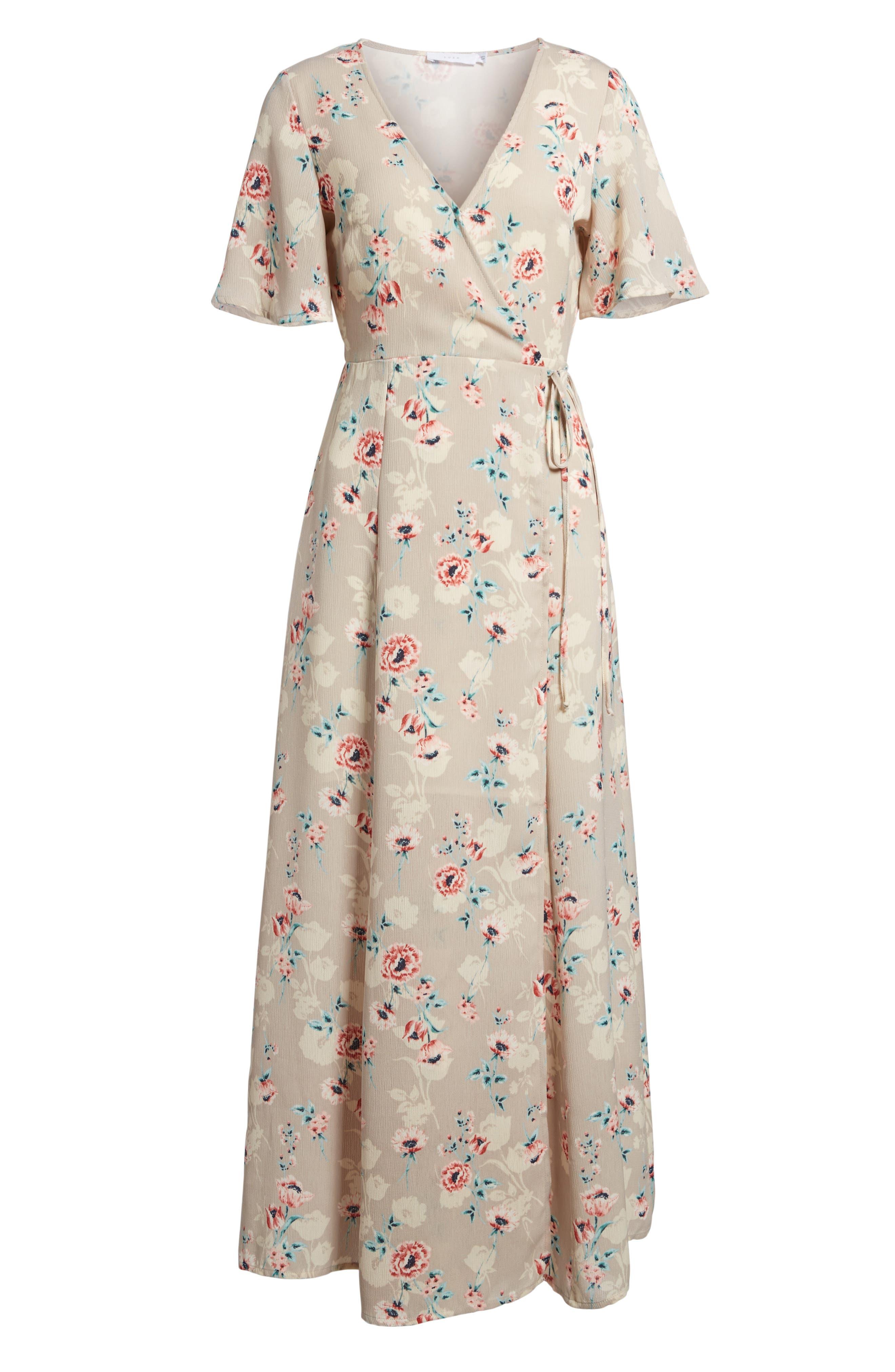 Floral Print Wrap Maxi Dress,                             Alternate thumbnail 6, color,                             Taupe-Rose Floral