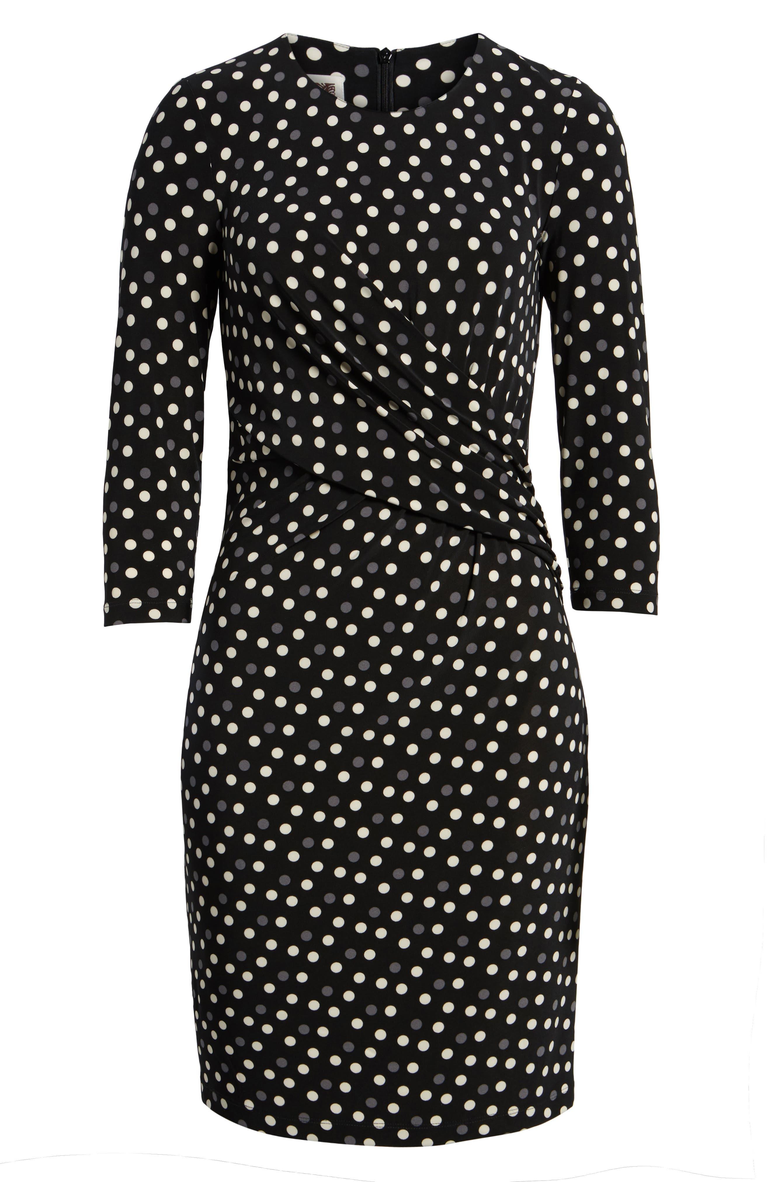 Splashy Dot Twist Waist Dress,                             Alternate thumbnail 6, color,                             Black/ Parchment Combo