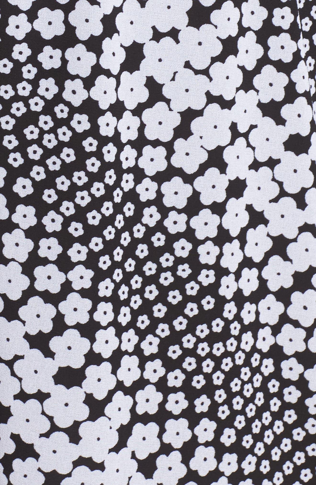 Cold Shoulder Blouson Dress,                             Alternate thumbnail 5, color,                             Black/ White