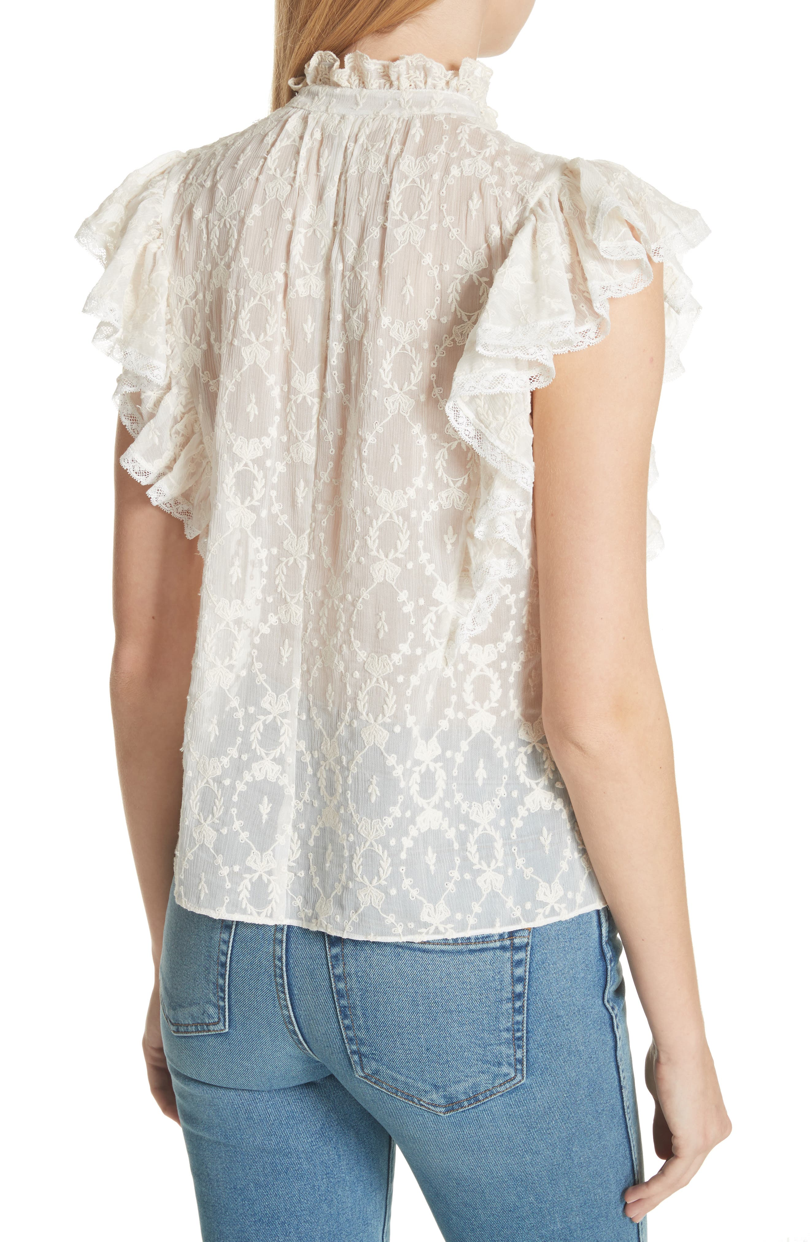 Lily Ruffle Embroidered Silk Top,                             Alternate thumbnail 2, color,                             Snow