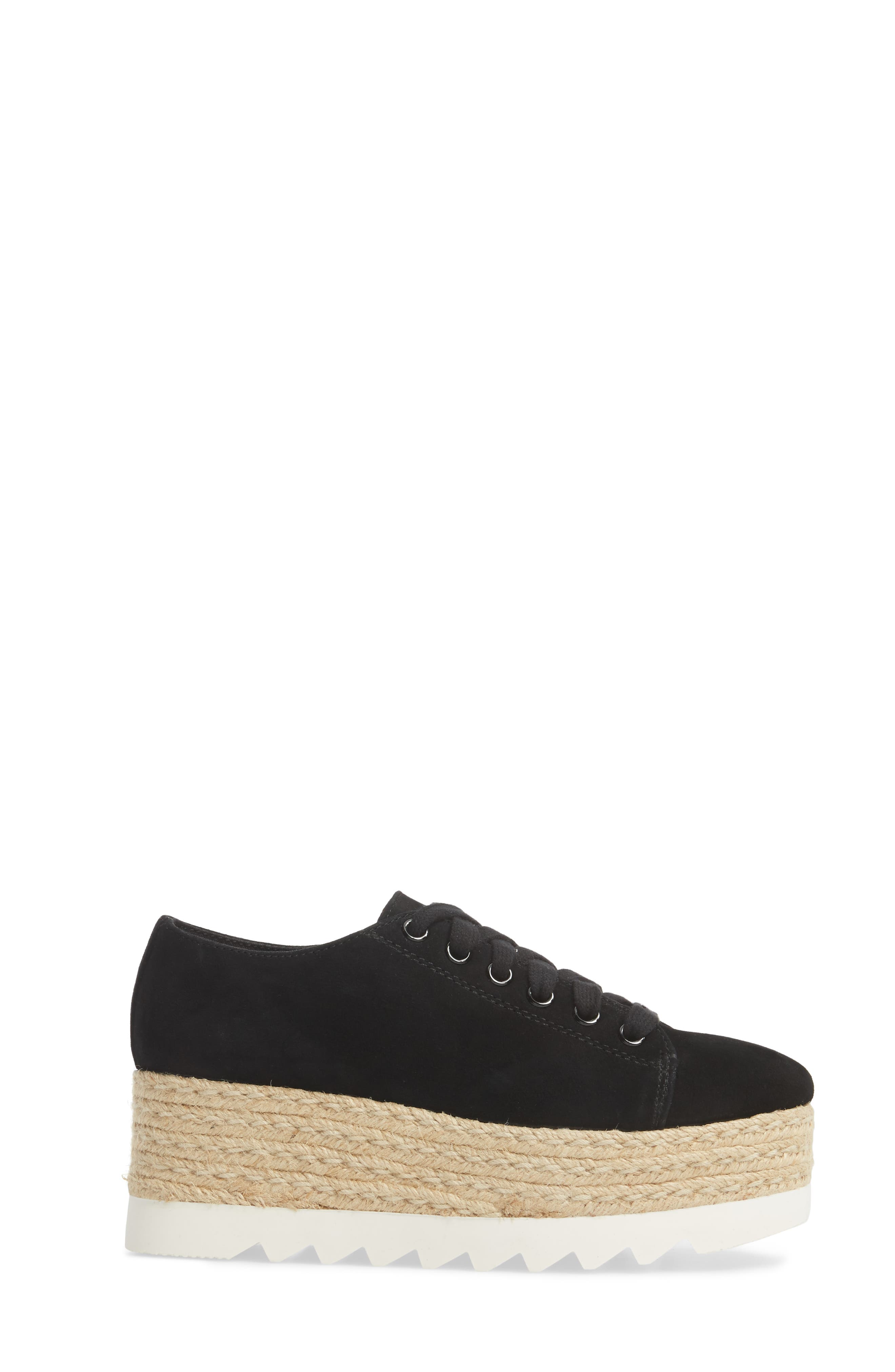 Karma Espadrille Platform Sneaker,                             Alternate thumbnail 3, color,                             Black Sued