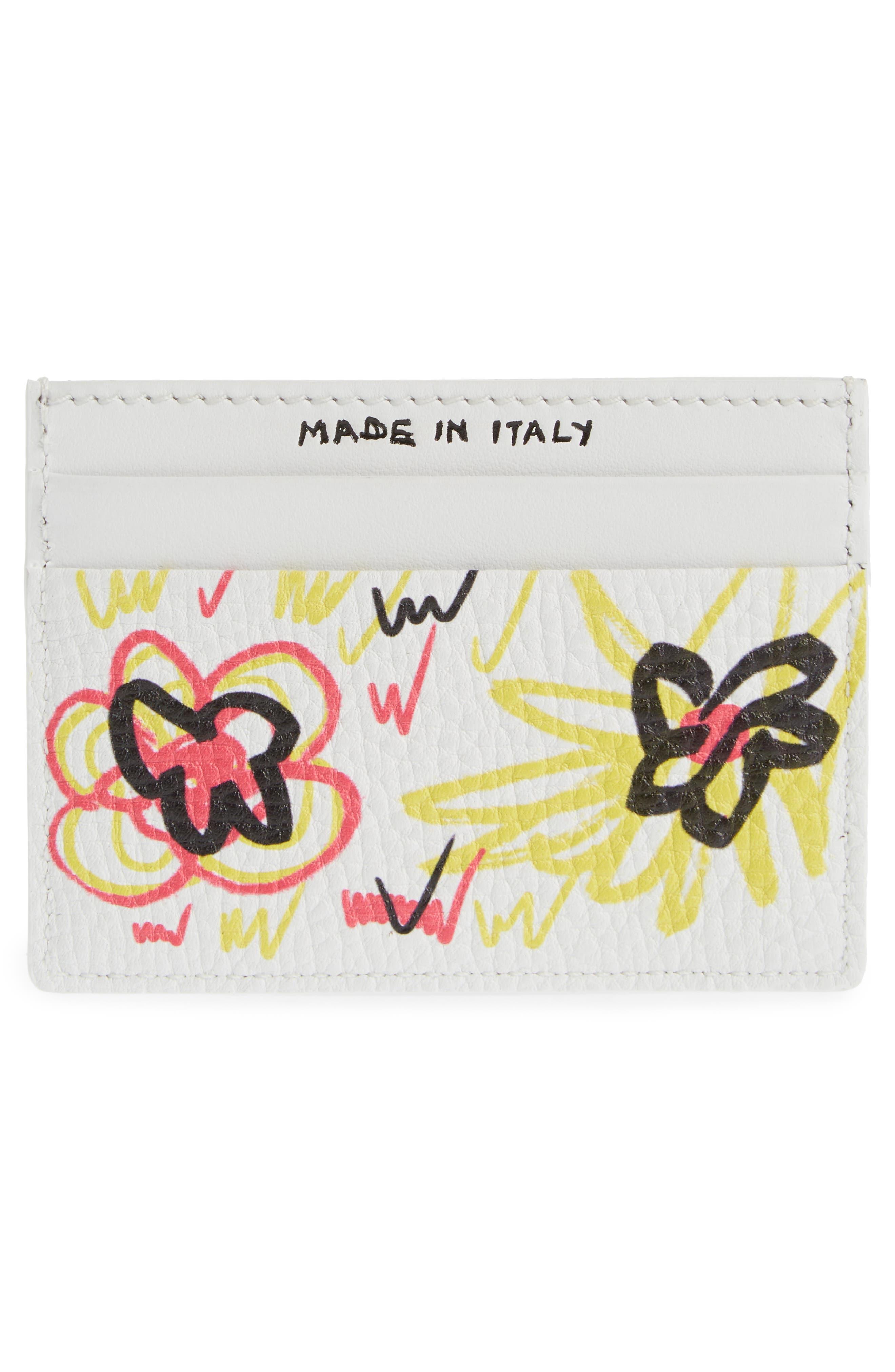 Sandon Doodle Leather Card Case,                             Alternate thumbnail 2, color,                             White