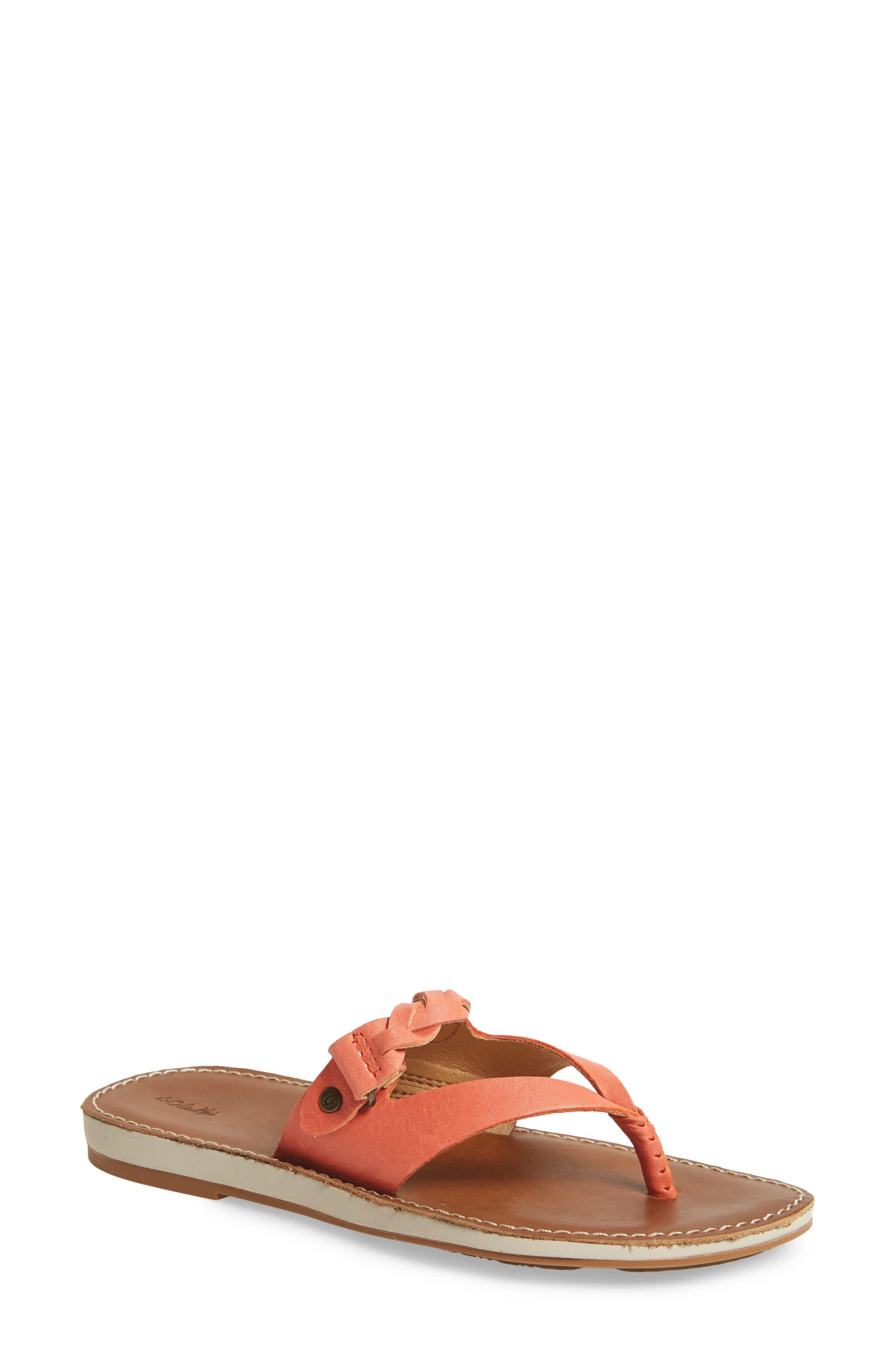 Kahikolu Flip Flop,                             Main thumbnail 1, color,                             Peach/ Tan Leather