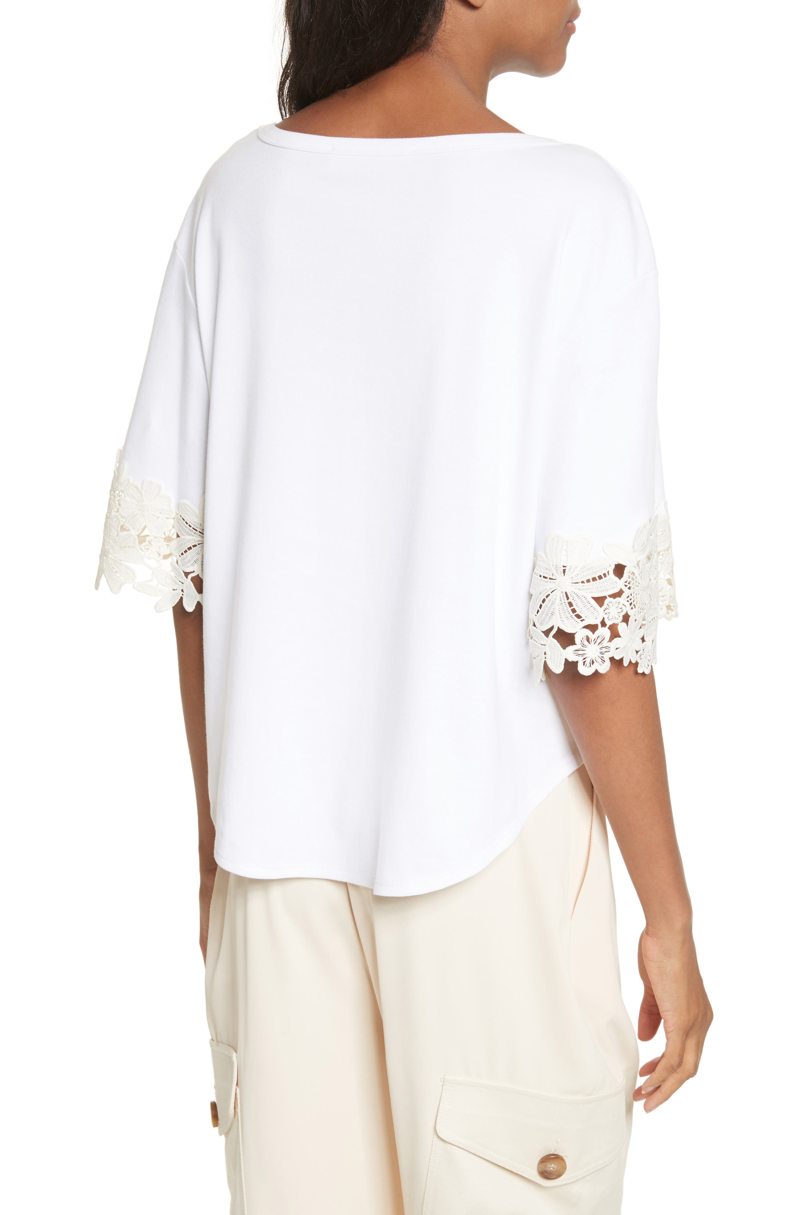 Lace Cuff Tee,                             Alternate thumbnail 2, color,                             White