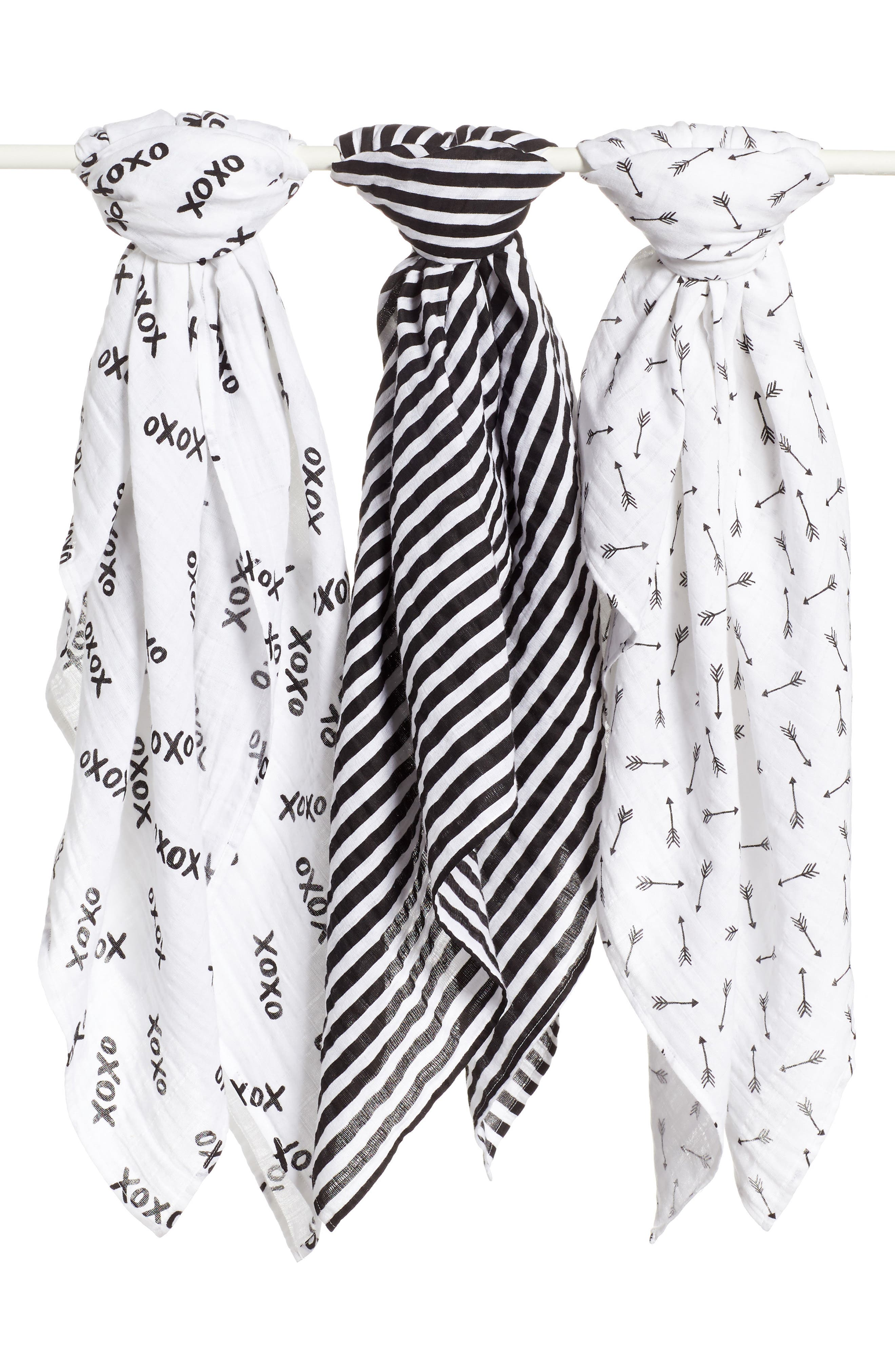 3-Pack Muslin Swaddles,                         Main,                         color, Xo Pack