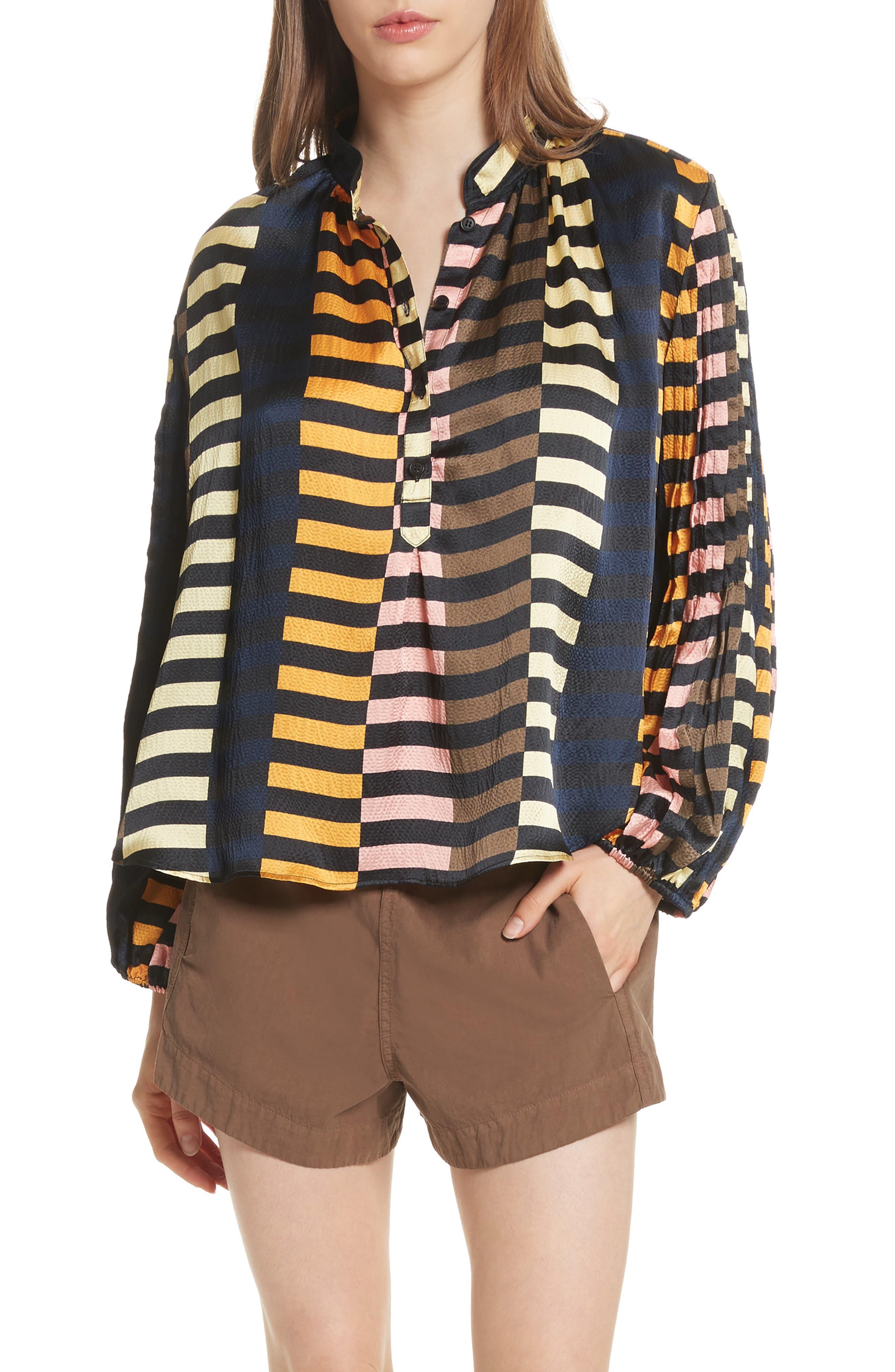Nuevo Bravo Stripe Silk Top,                         Main,                         color, Majorelle Print