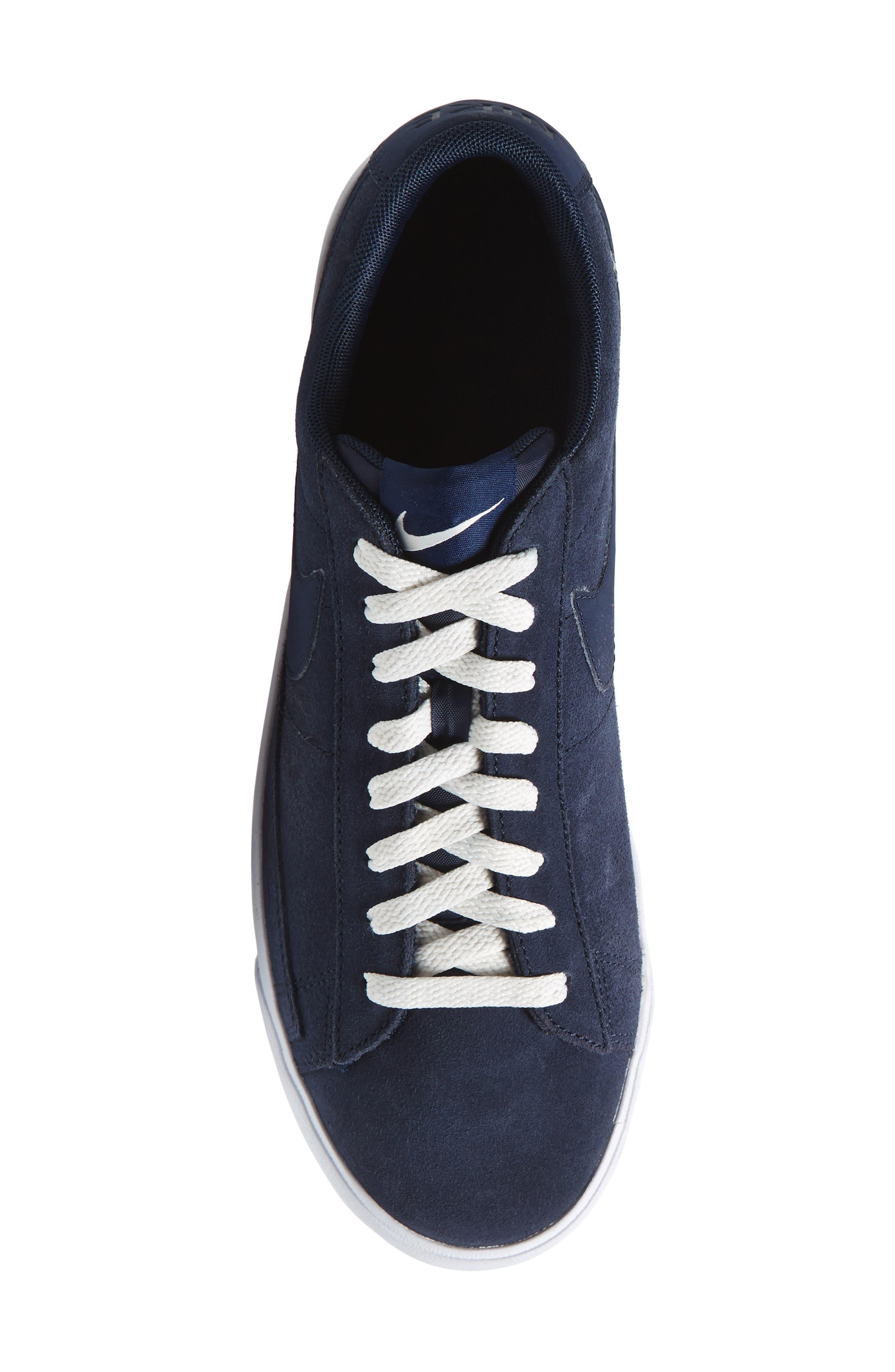 Blazer Low Suede Sneaker,                             Alternate thumbnail 5, color,                             Obsidian/ Sail/ Brown