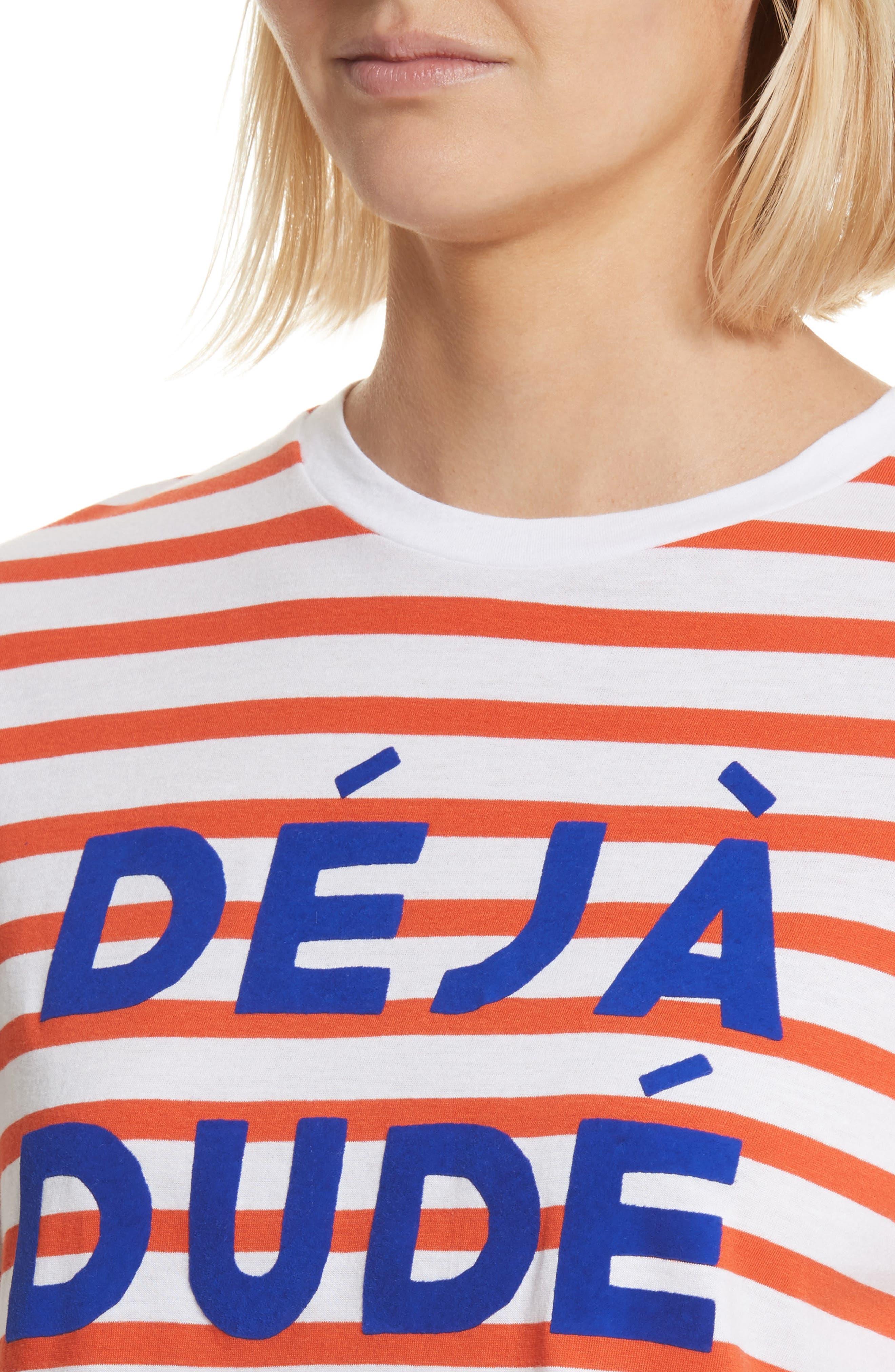 être cécile Déjà Dudé Tee,                             Alternate thumbnail 4, color,                             Tomato Breton Stripe
