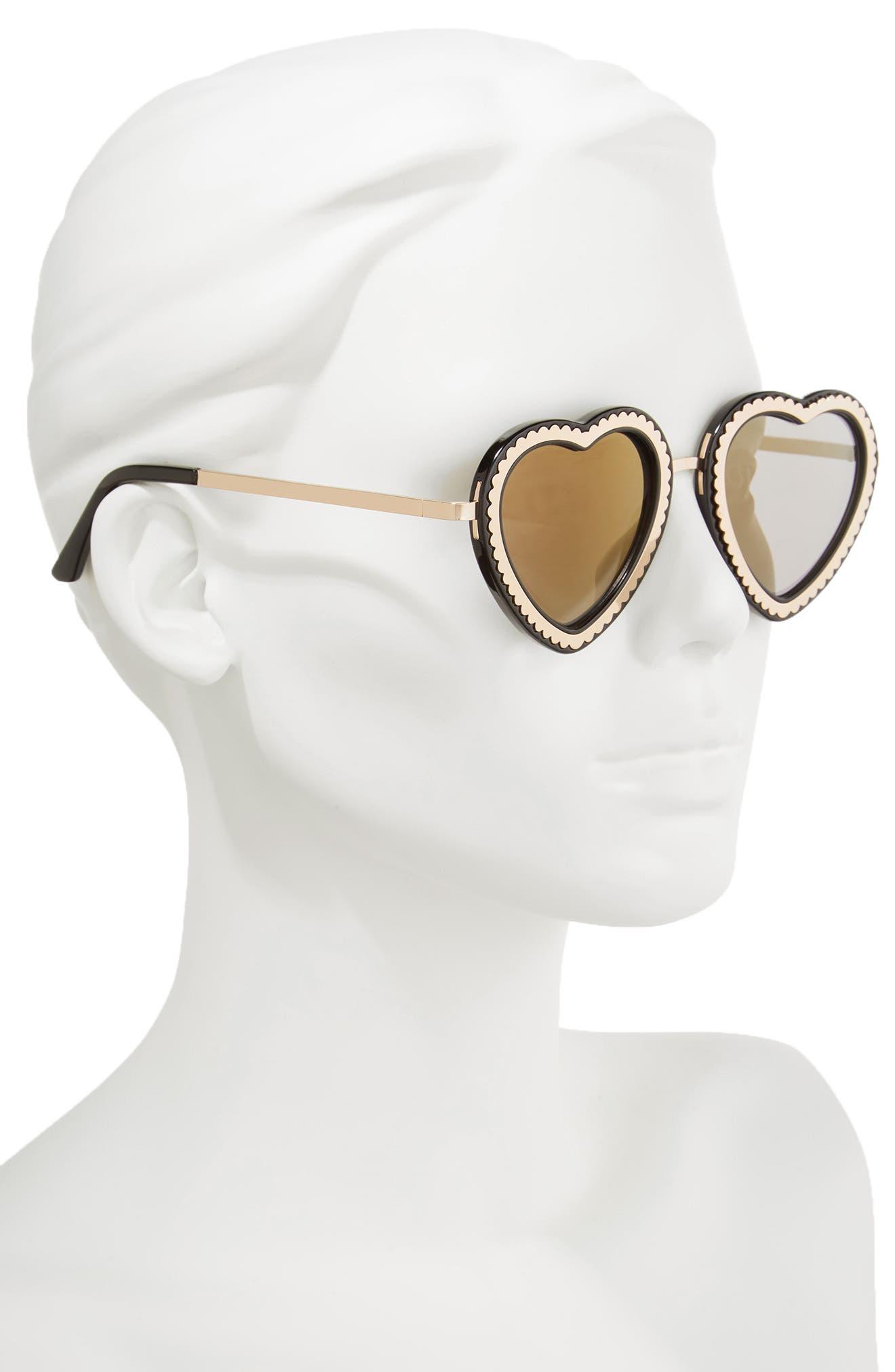 61mm Mirrored Heart Sunglasses,                             Alternate thumbnail 2, color,                             Gold/ Black