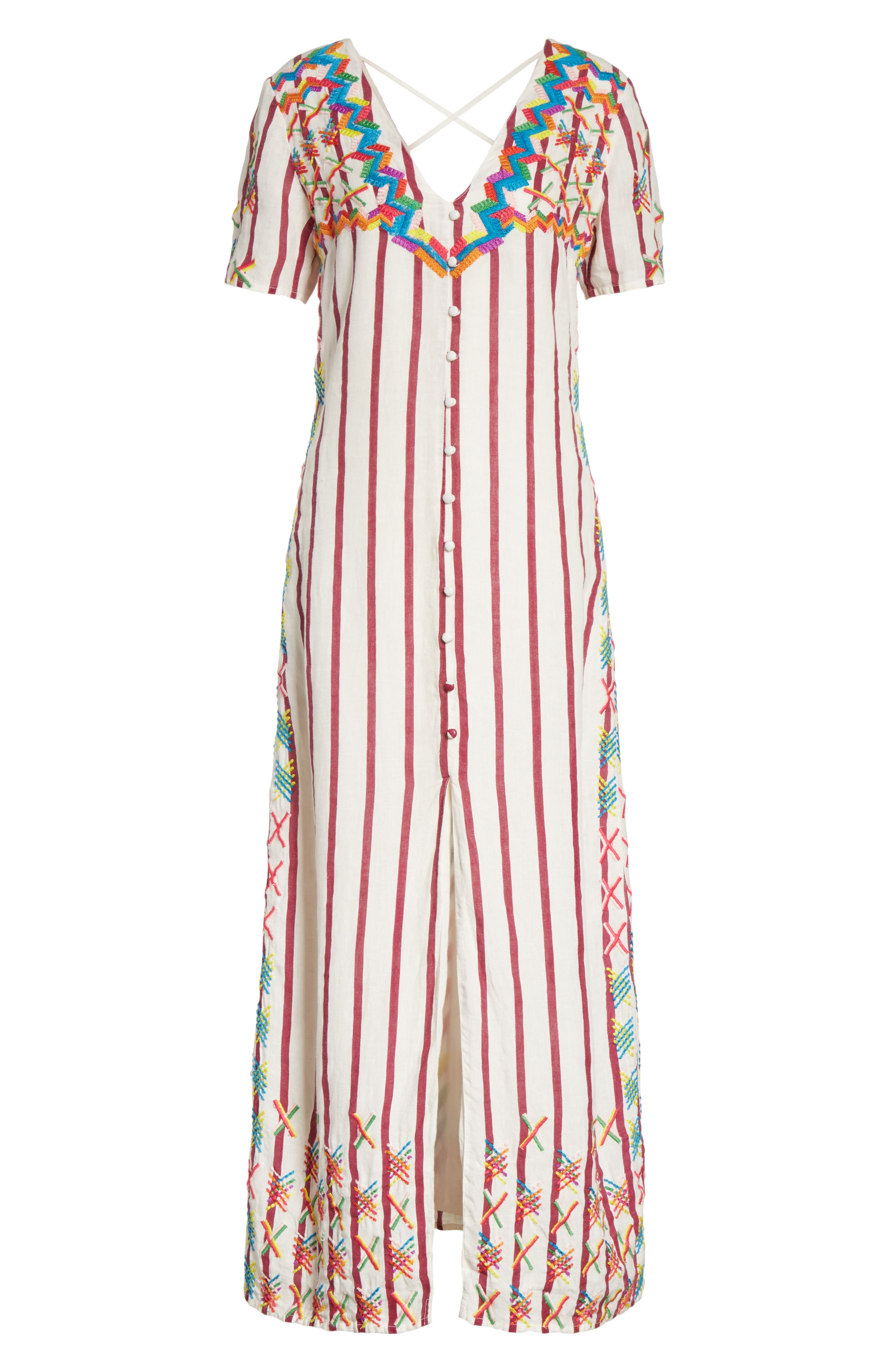 Maria Embroidered Maxi Dress,                             Alternate thumbnail 6, color,                             Off White/ Burgundy