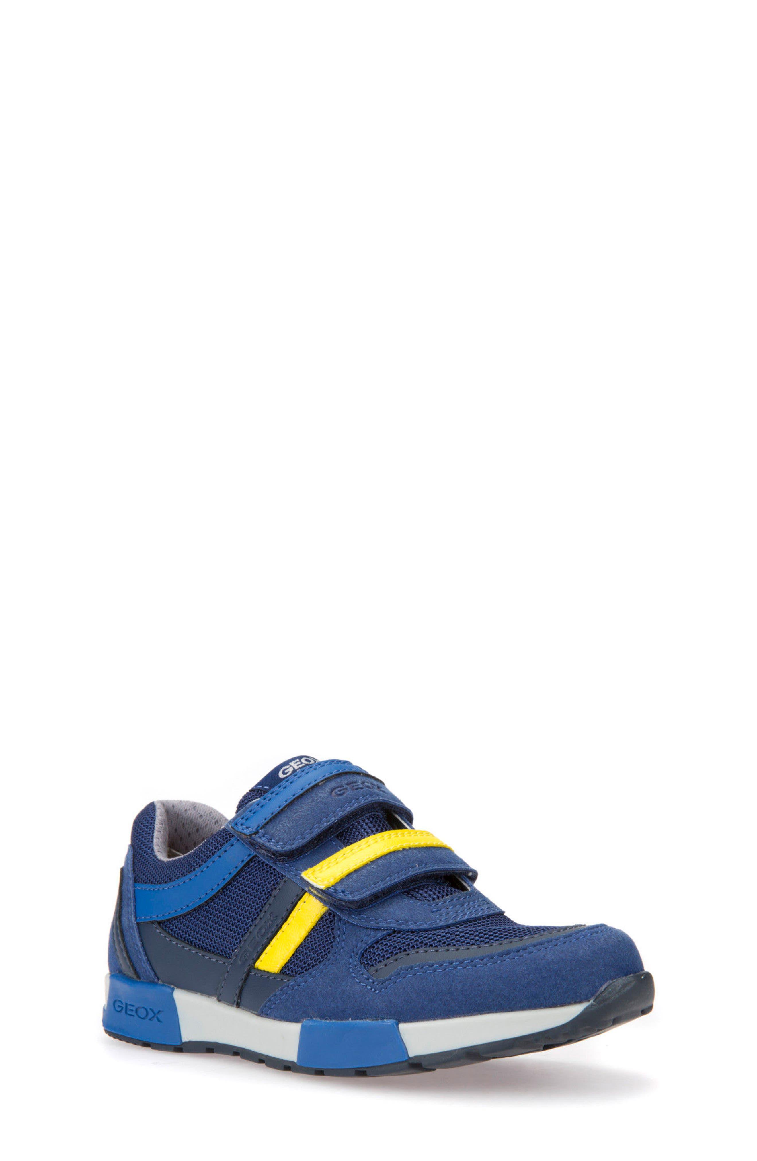 Alfier Stripe Low Top Sneaker,                             Main thumbnail 1, color,                             Blue/ Yellow