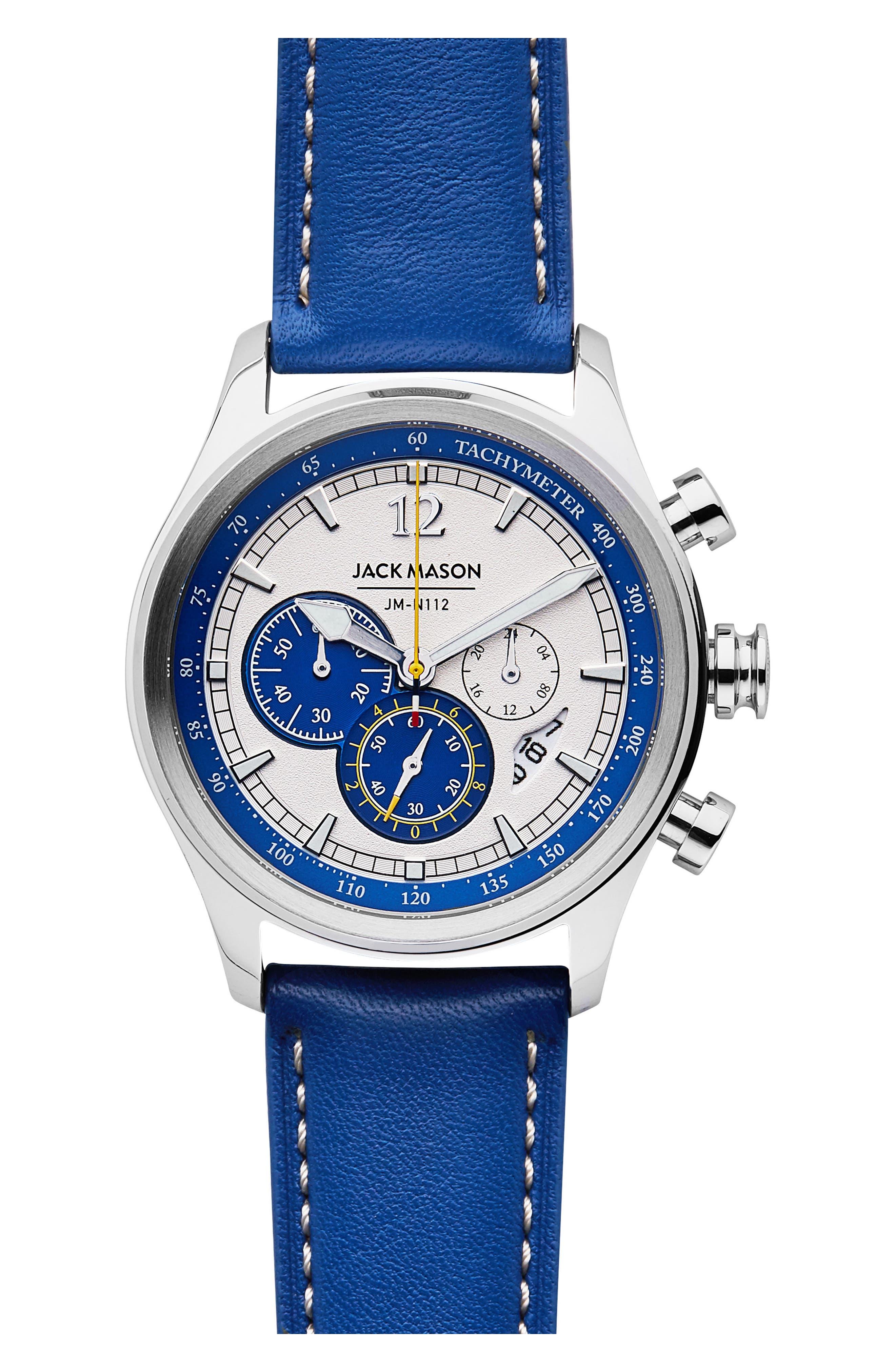 Nautical Chronograph Leather Strap Watch, 42mm,                             Main thumbnail 1, color,                             White/ Cobalt Blue