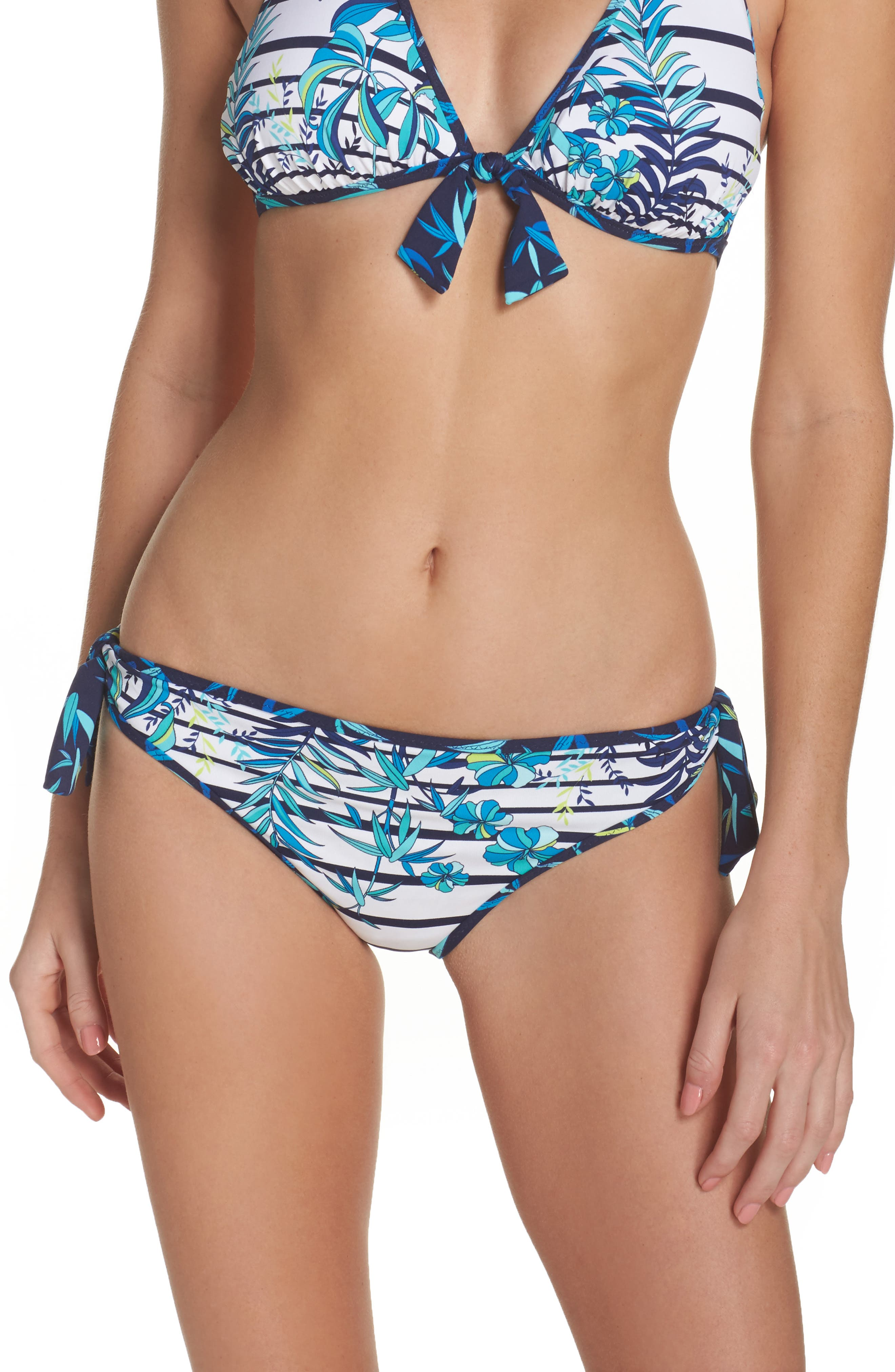 Tropical Swirl Reversible Bikini Bottoms,                         Main,                         color, Blue/ White