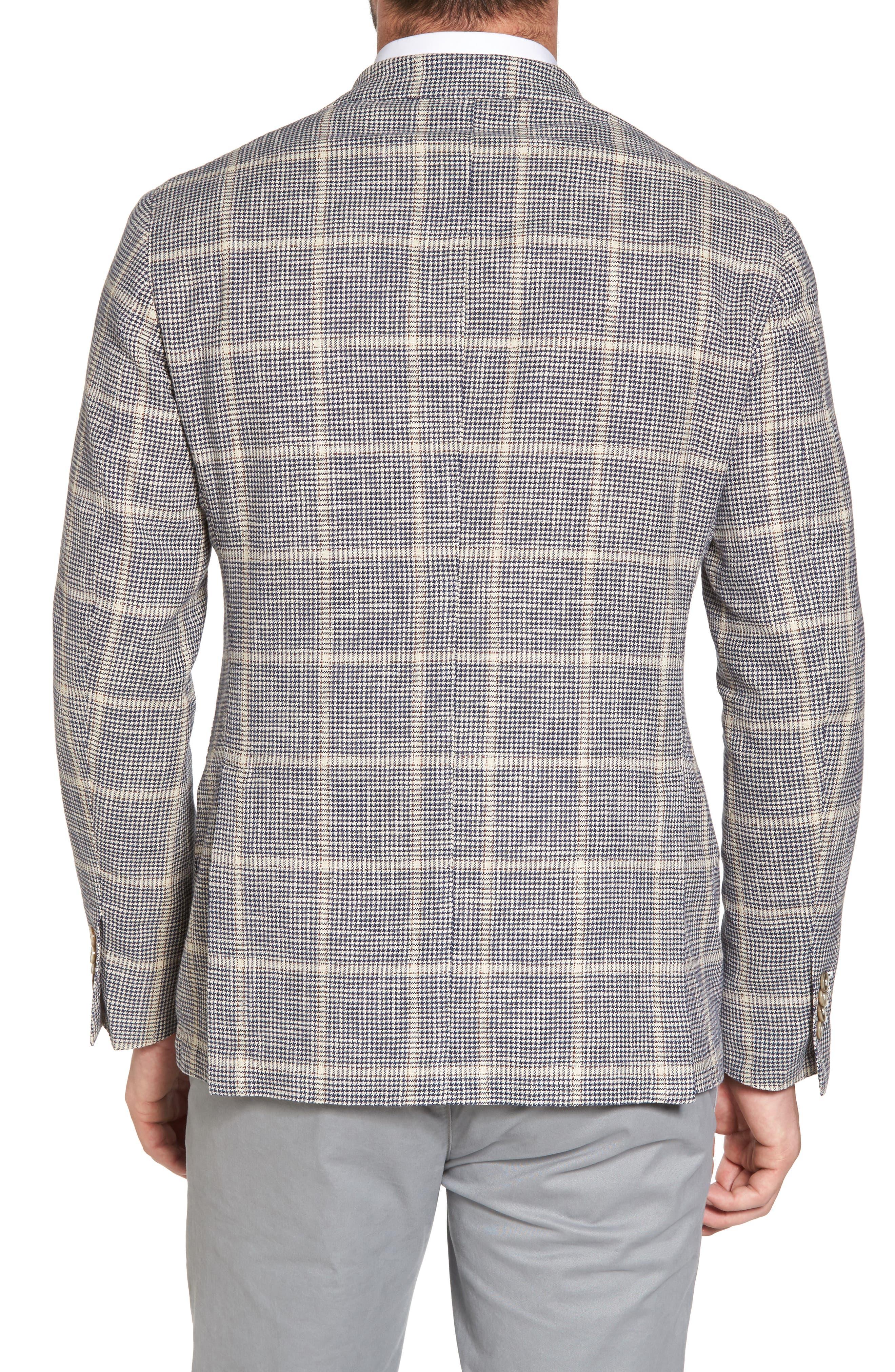 Classic Fit Windowpane Cotton & Silk Sport Coat,                             Alternate thumbnail 2, color,                             Light/ Pastel Brown