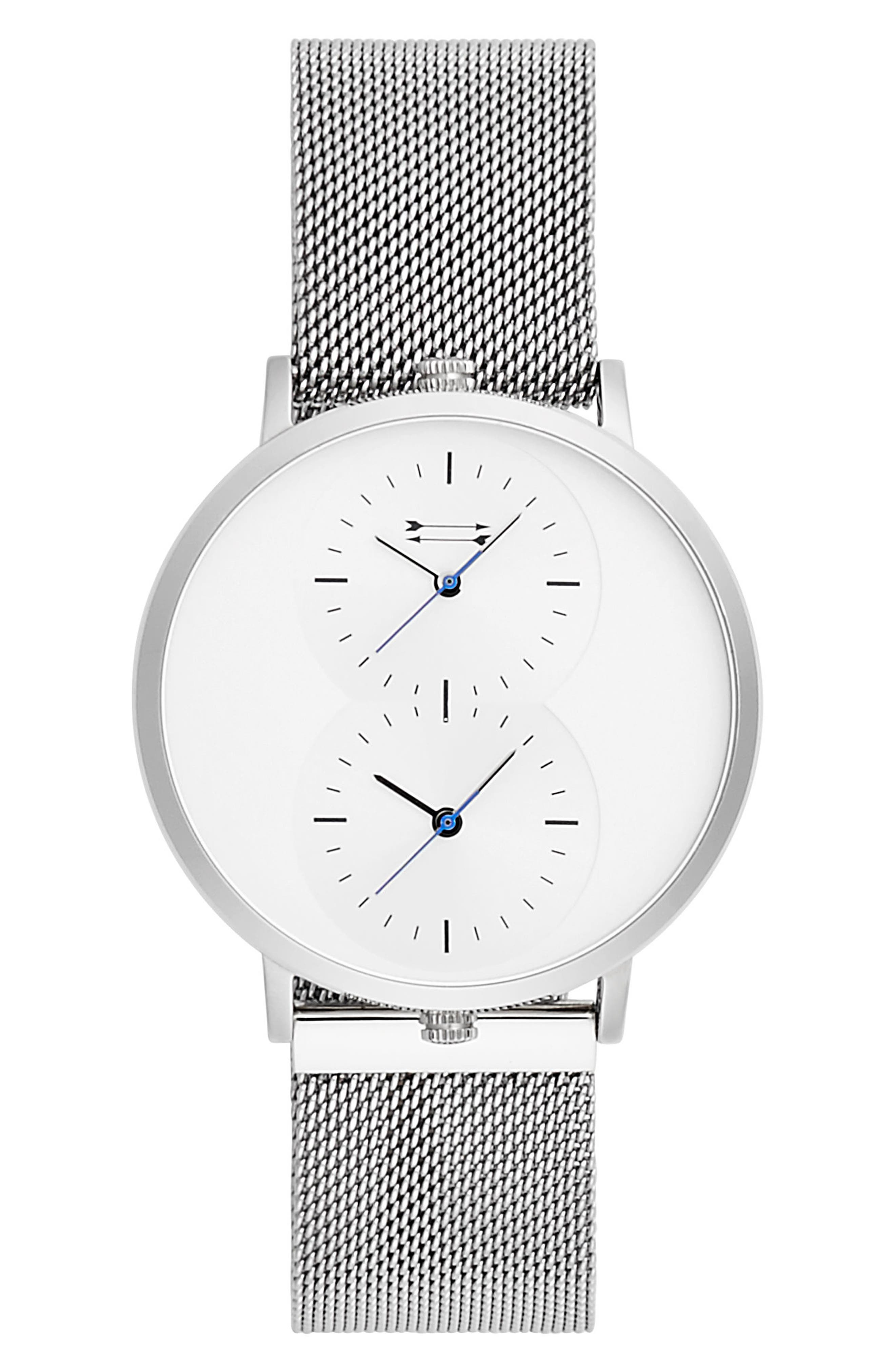 URI MINKOFF Griffith Mesh Strap Watch, 43Mm in Silver/ White/ Silver