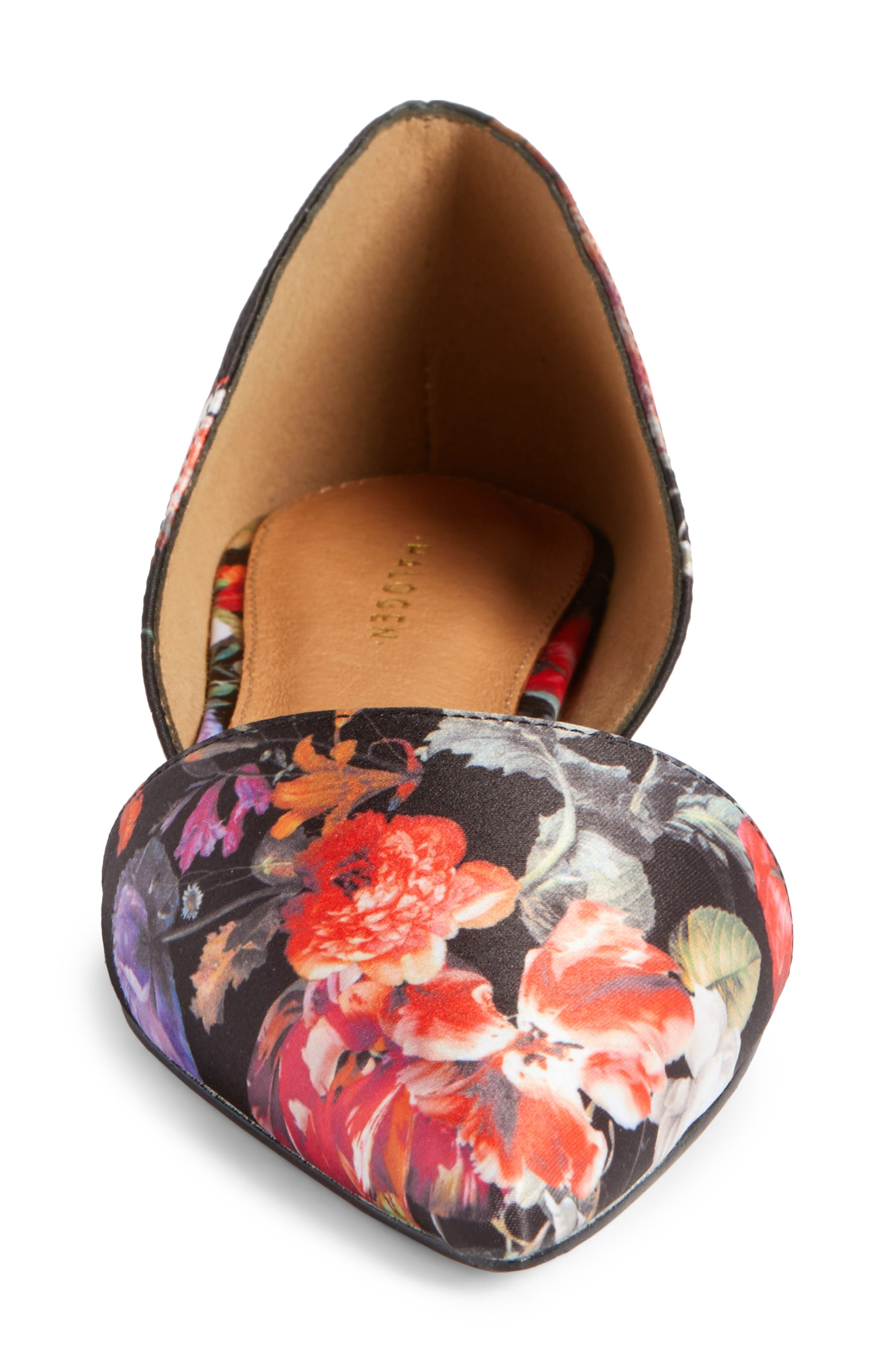 Maisy d'Orsay Flat,                             Alternate thumbnail 5, color,                             Black/ Red Floral Fabric