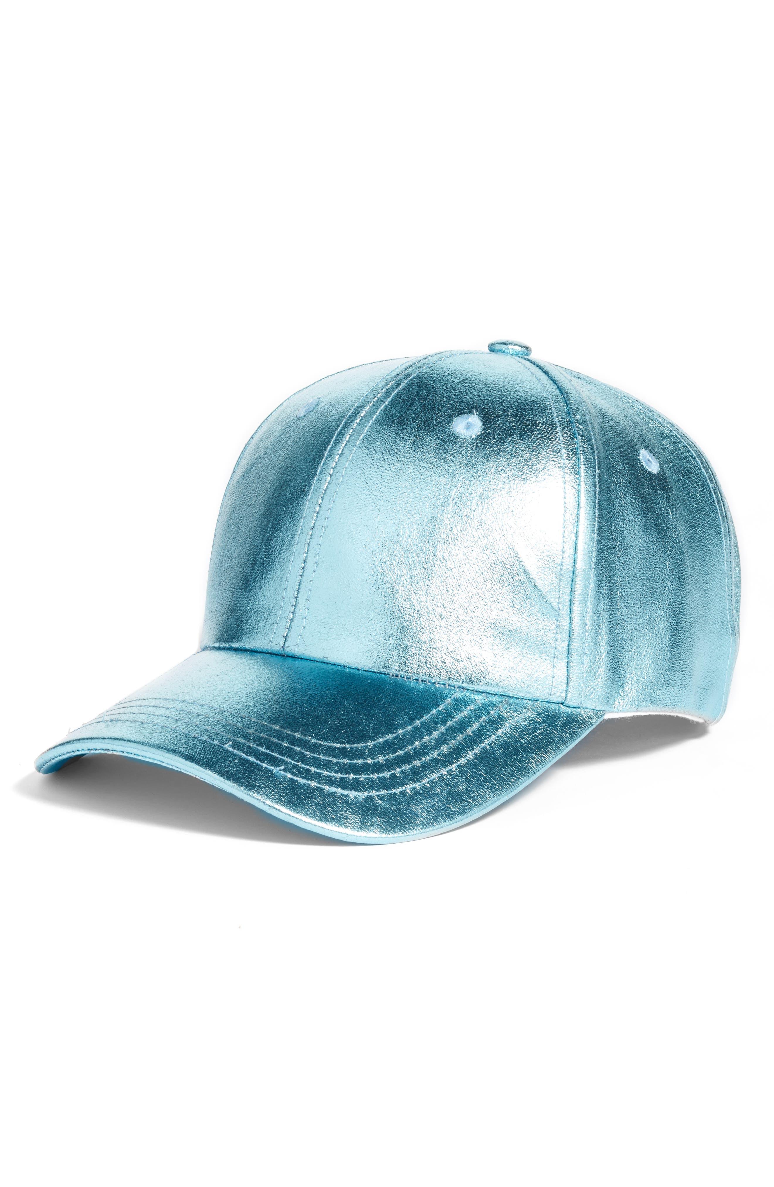 Crackled Metallic Baseball Cap,                         Main,                         color, Blue