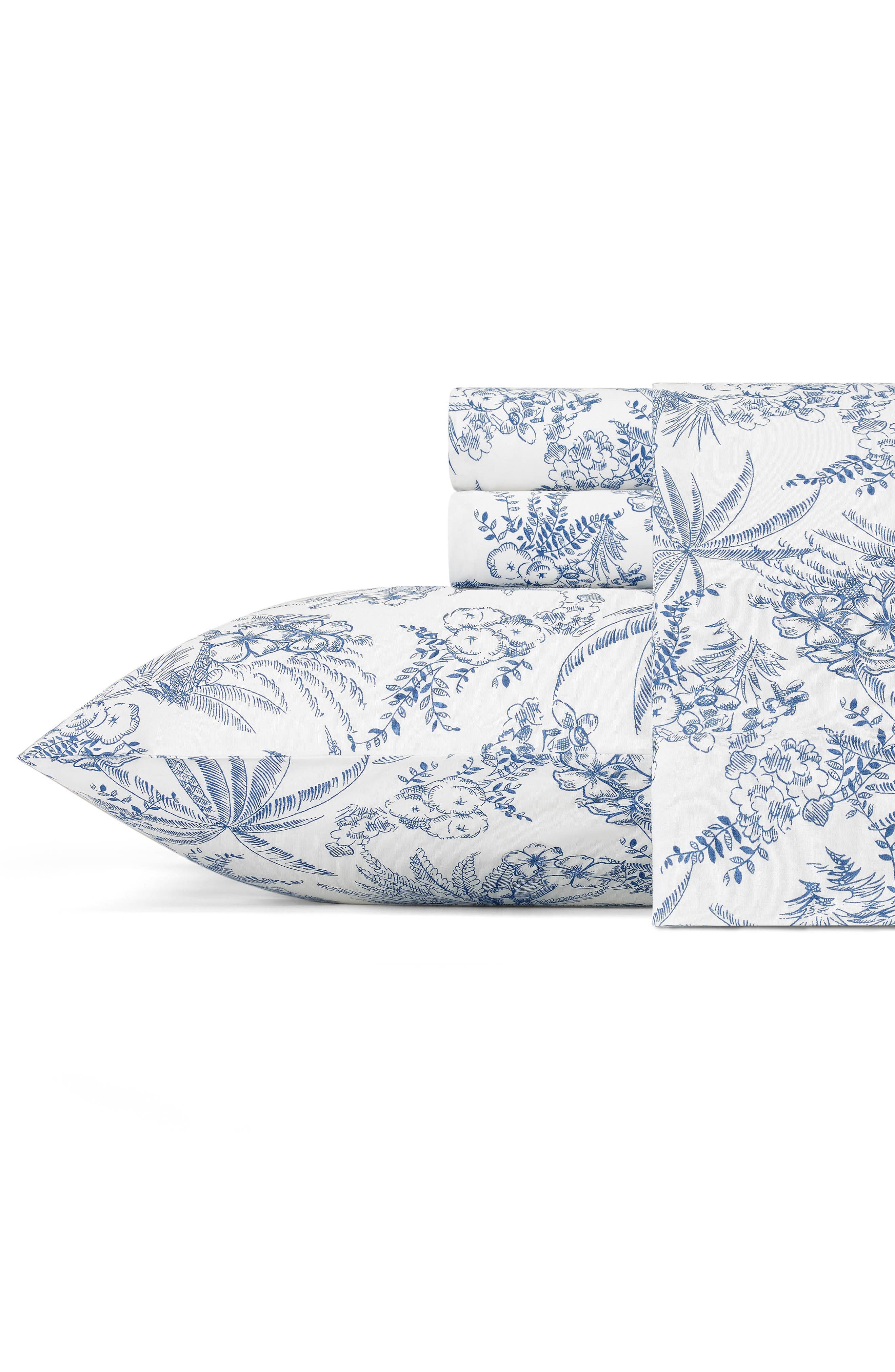 Print 200 Thread Count Sheet Set,                         Main,                         color, Dark Blue
