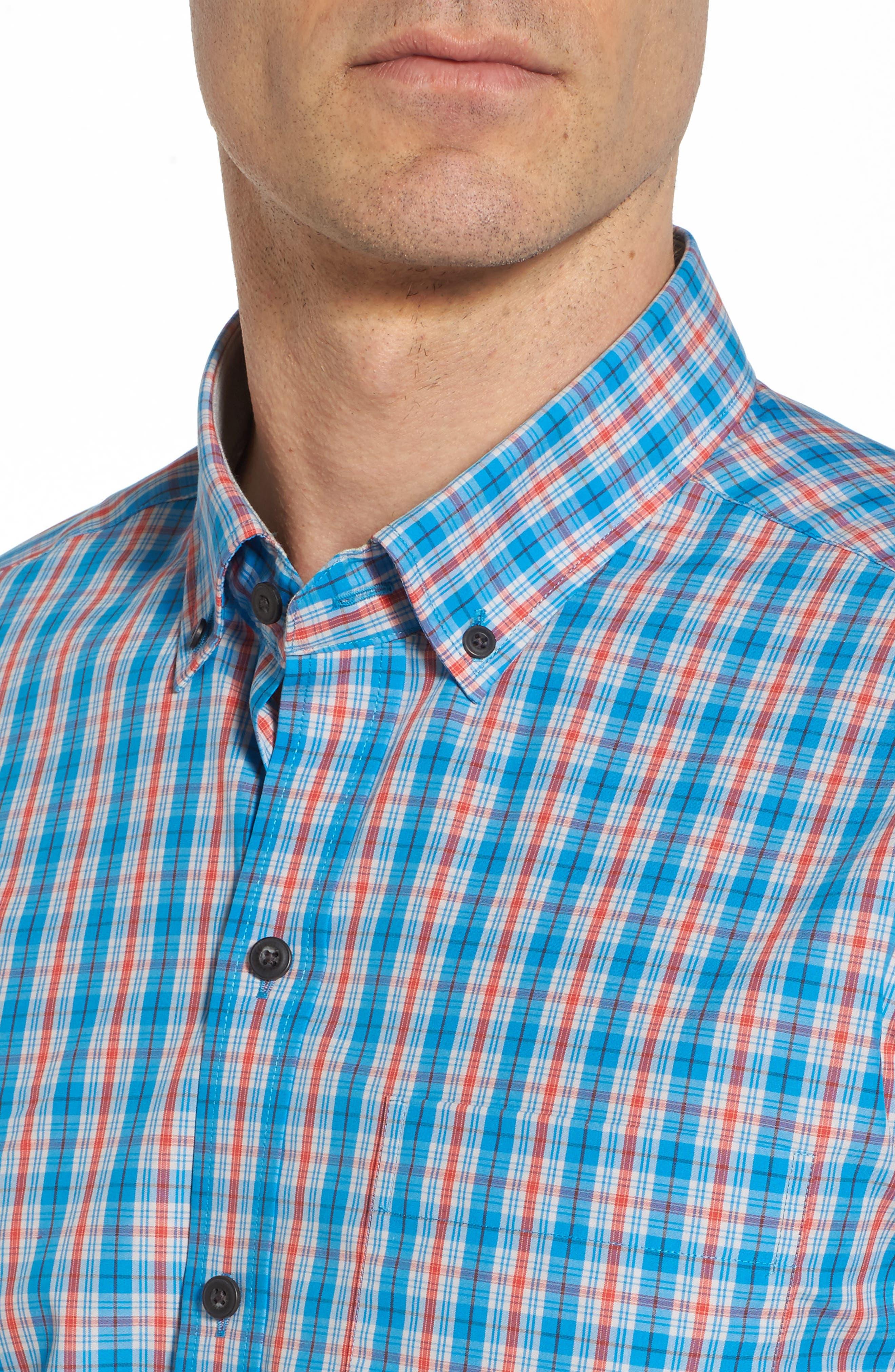 Landon Classic Fit Non-Iron Plaid Sport Shirt,                             Alternate thumbnail 4, color,                             Poolside