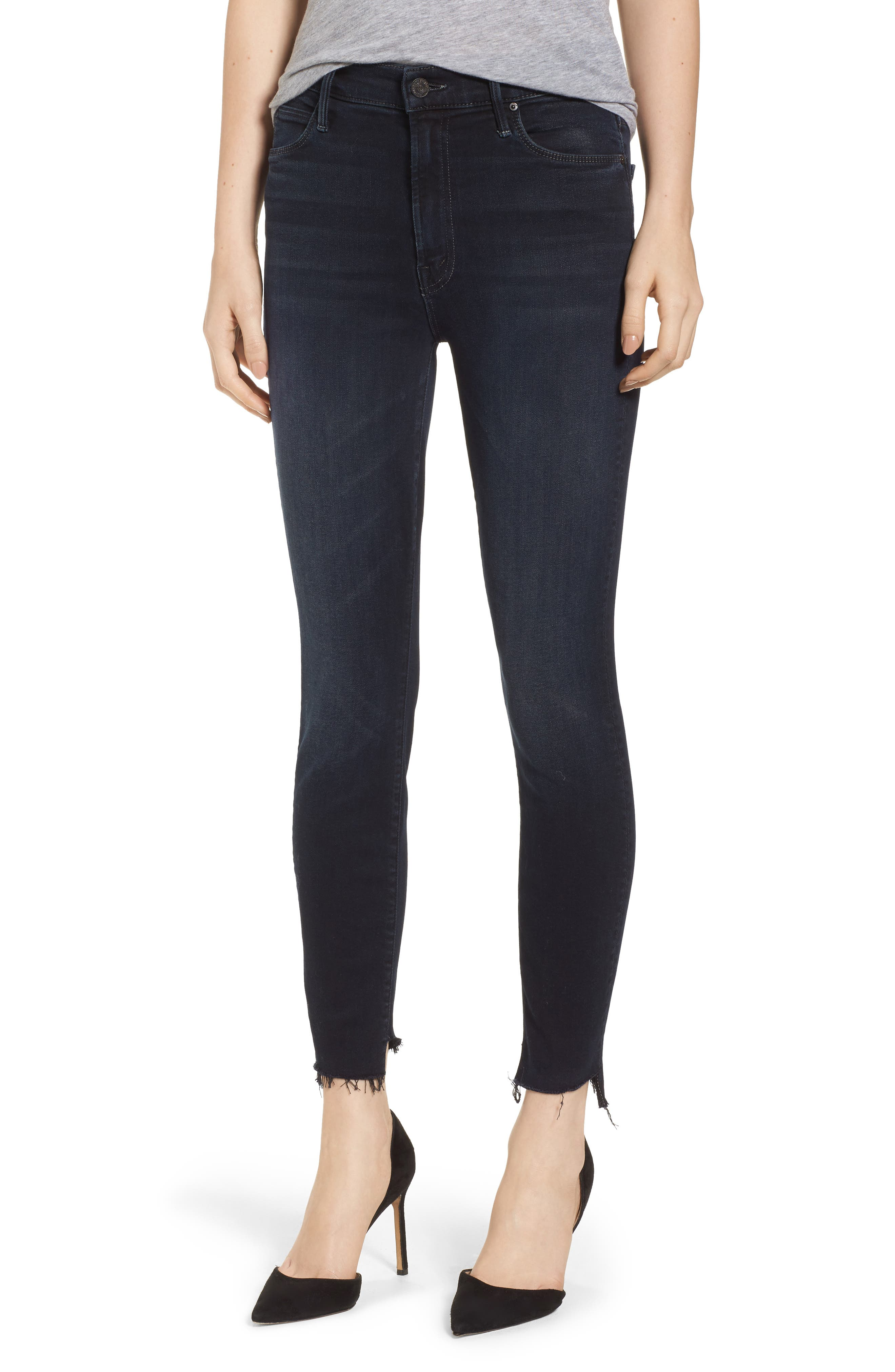 The Stunner High Waist Fray Ankle Skinny Jeans,                             Main thumbnail 1, color,                             Last Call