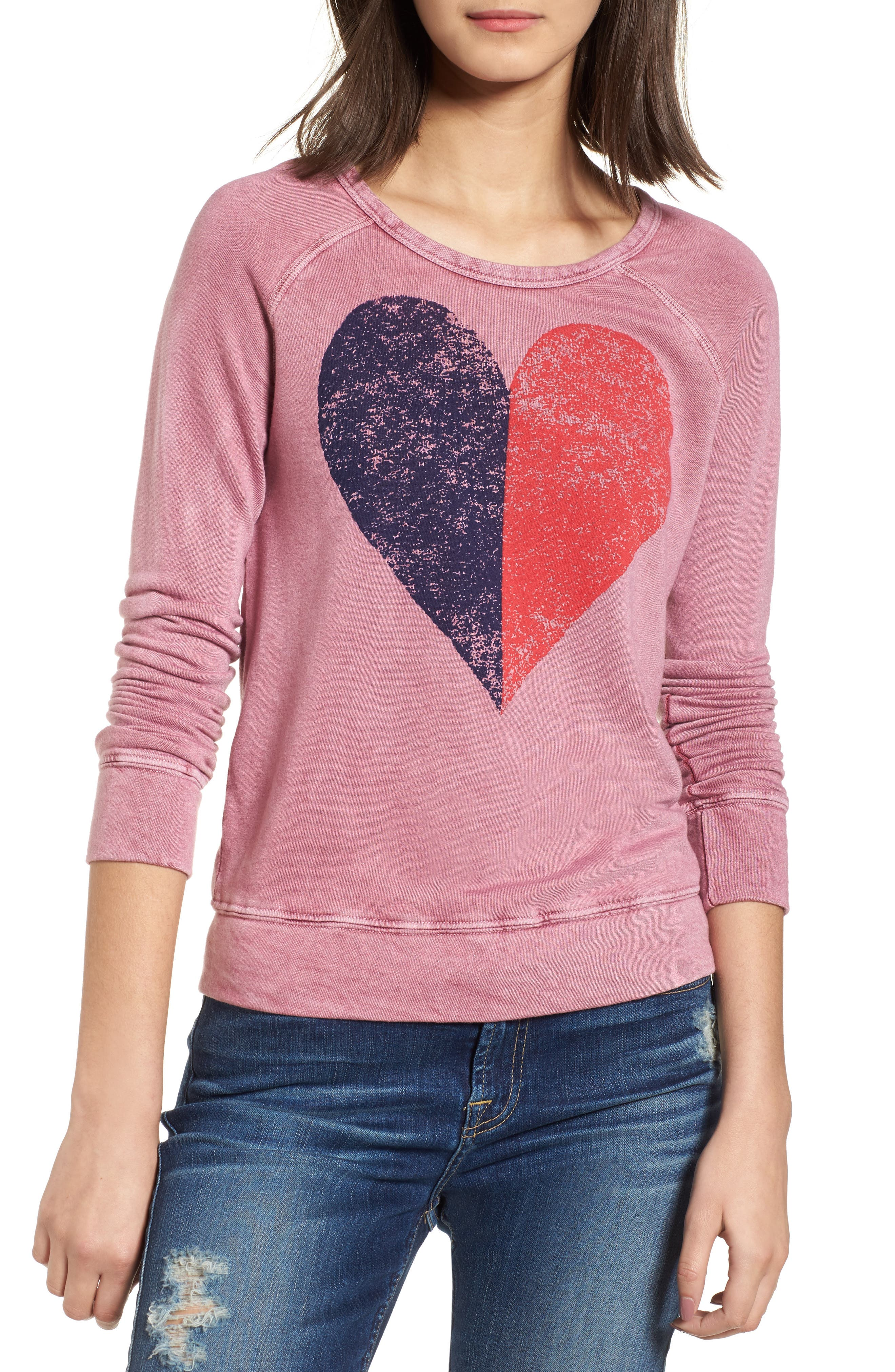 Split Heart Terry Sweatshirt,                         Main,                         color, Vintage Wild Berry