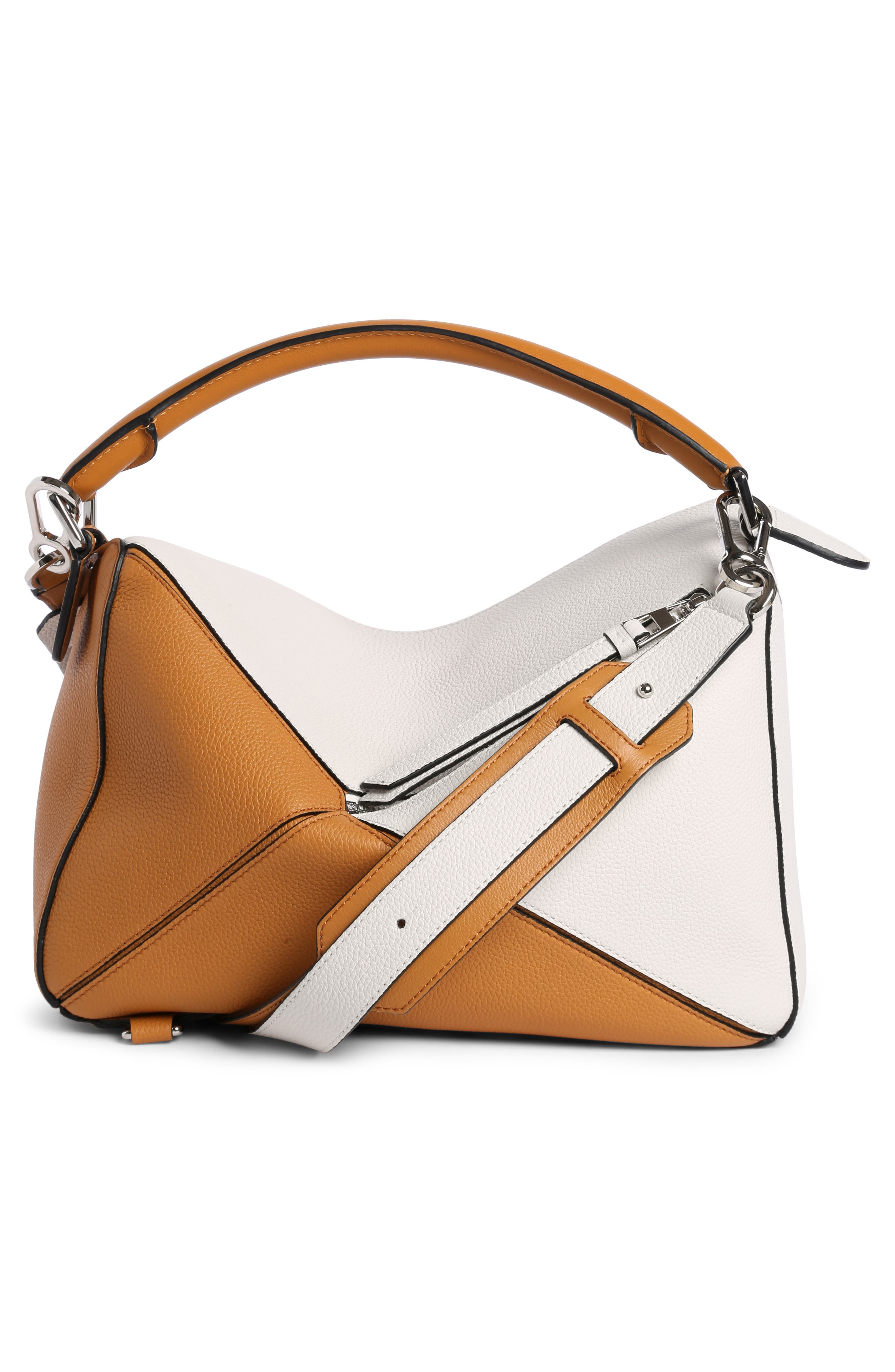 Puzzle Colorblock Calfskin Leather Bag,                             Alternate thumbnail 2, color,                             Soft White/ Amber